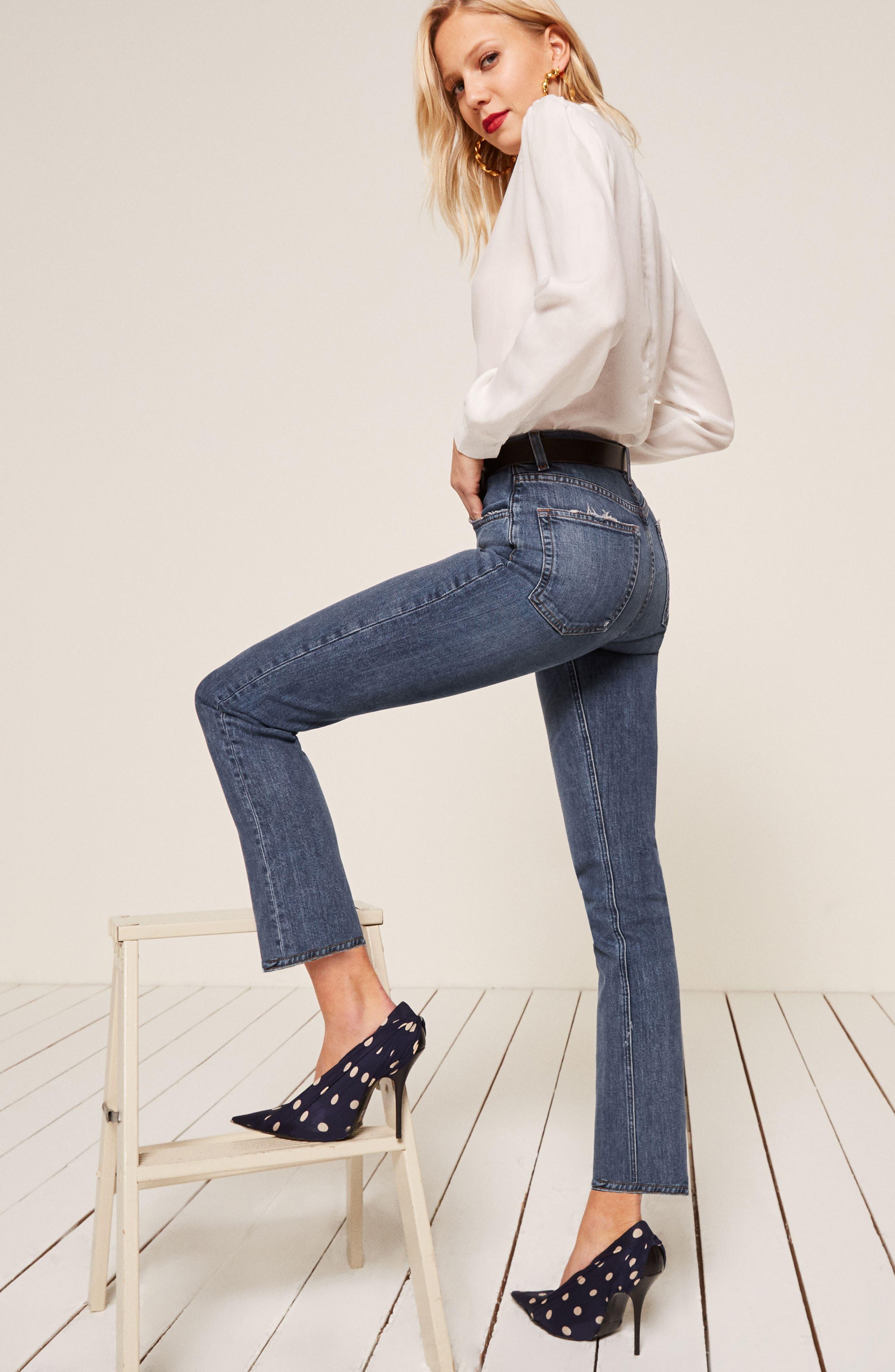 Liza High Waist Straight Leg Jeans,                             Alternate thumbnail 6, color,                             KASAI