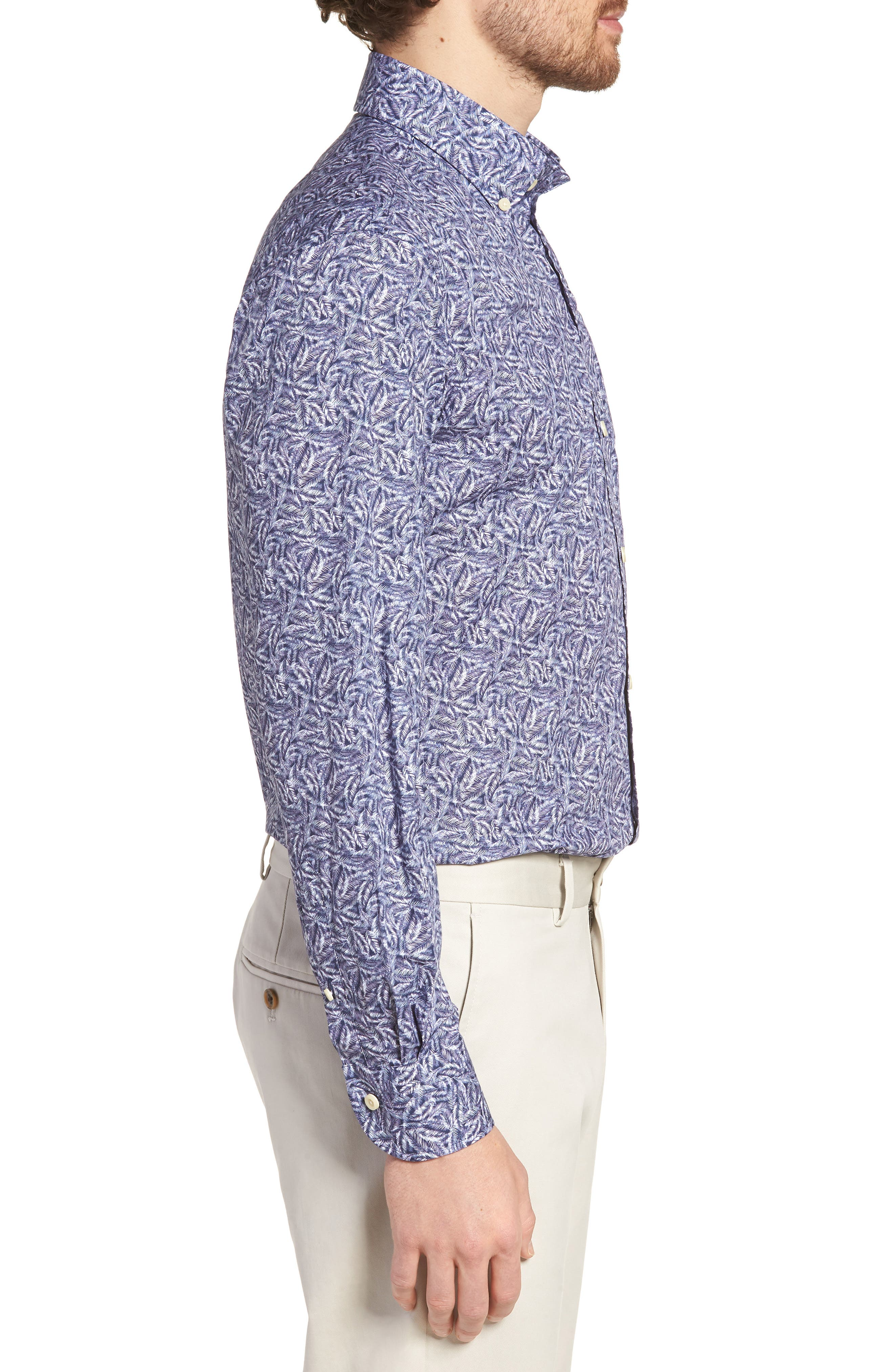Garnaby Slim Fit Print Dress Shirt,                             Alternate thumbnail 4, color,                             400