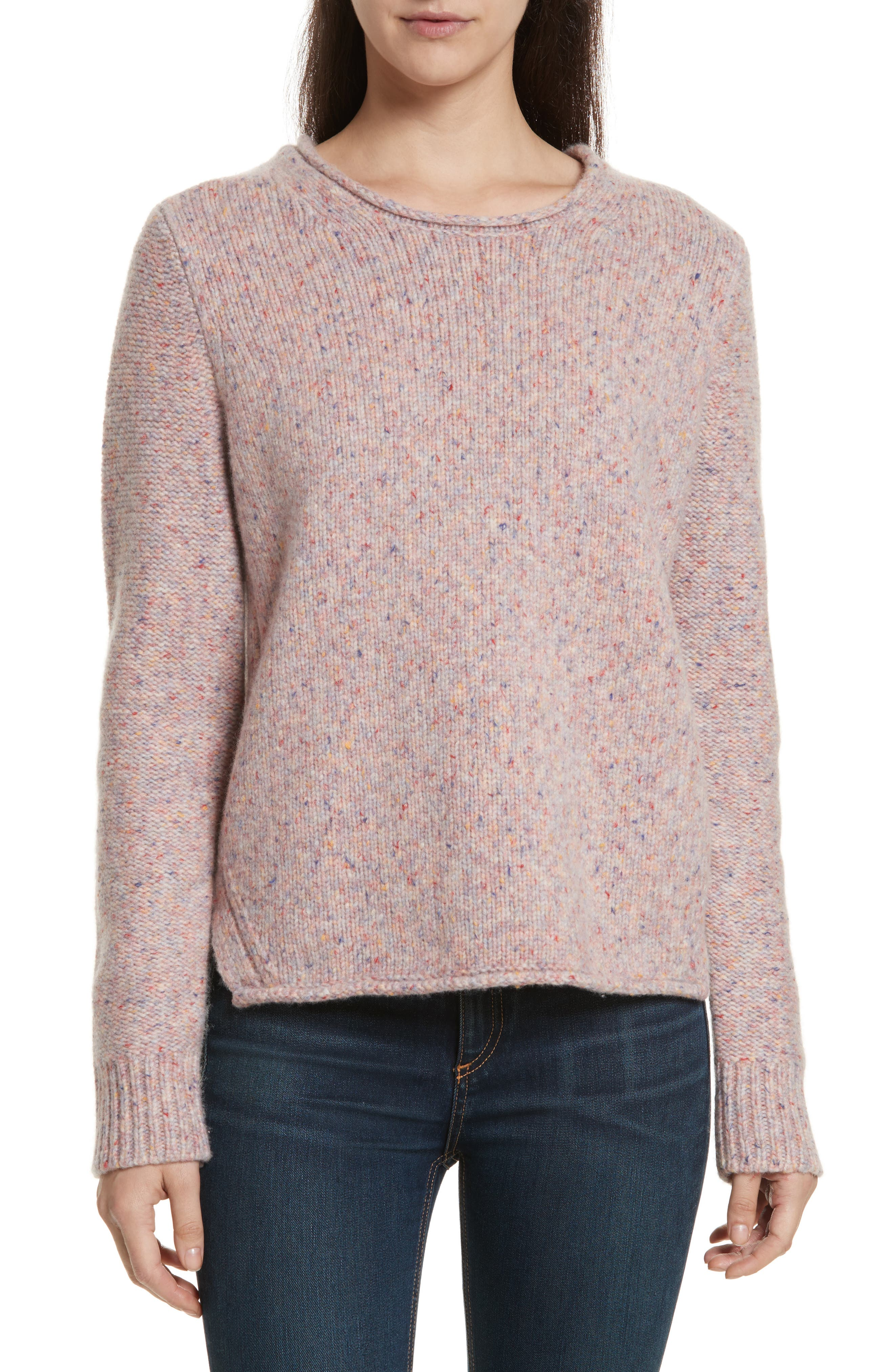 Francie Suede Trim Wool Blend Sweater,                         Main,                         color, 691