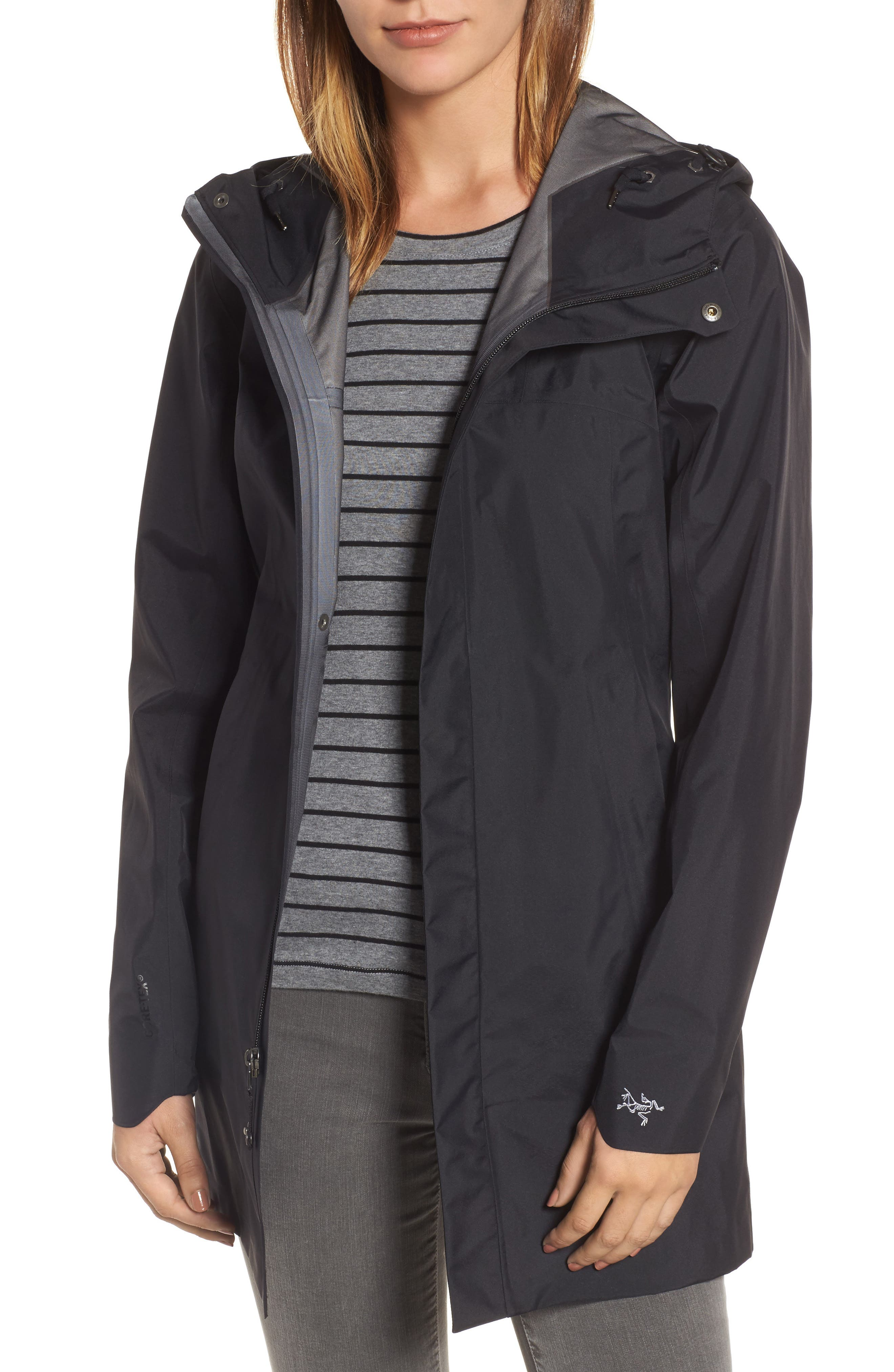 'Codetta' Waterproof Relaxed Fit Gore-Tex<sup>®</sup> 3L Rain Jacket, Main, color, 001