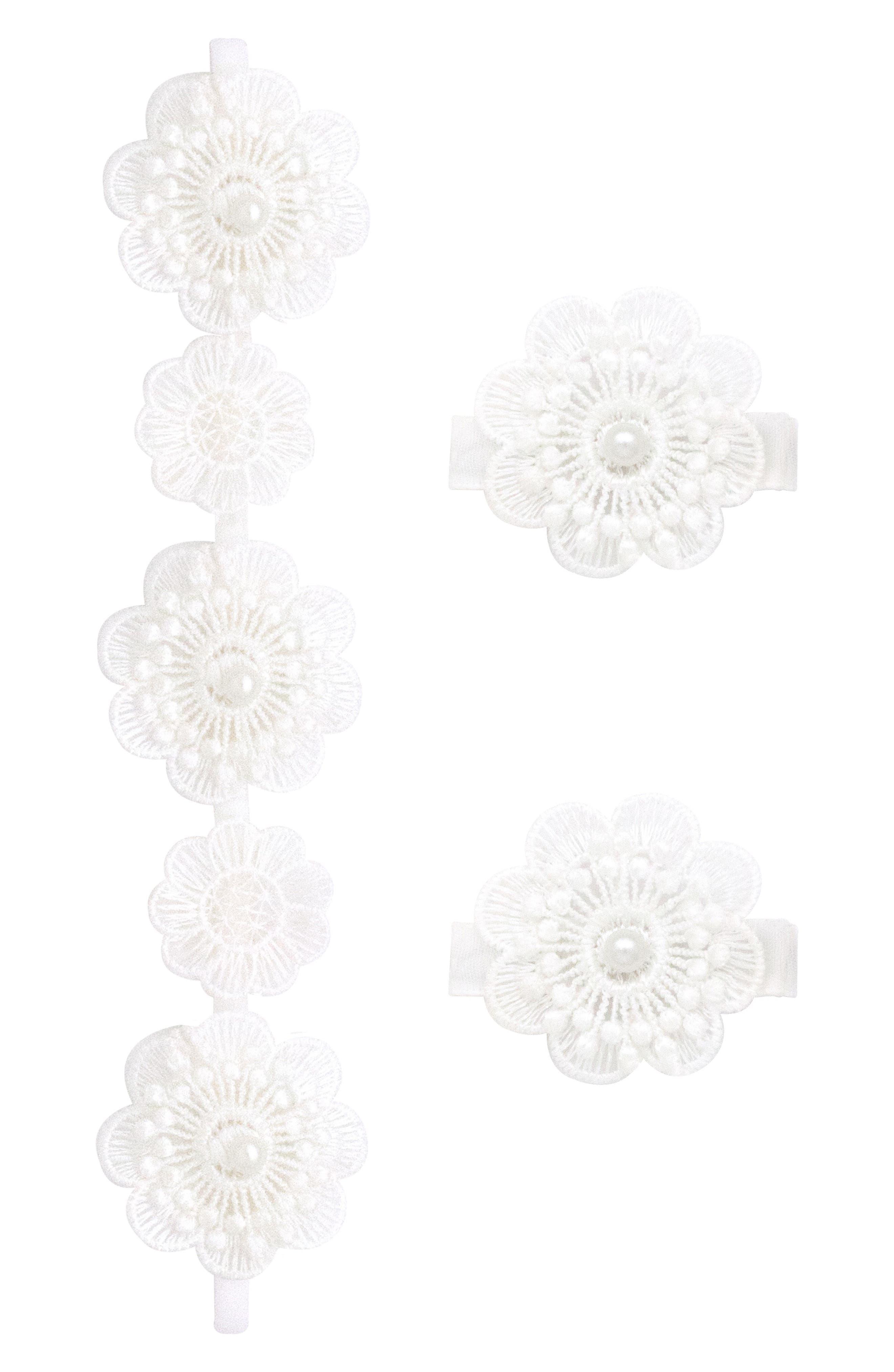 Headband & 2-Pack Hair Clips,                             Main thumbnail 1, color,                             WHITE