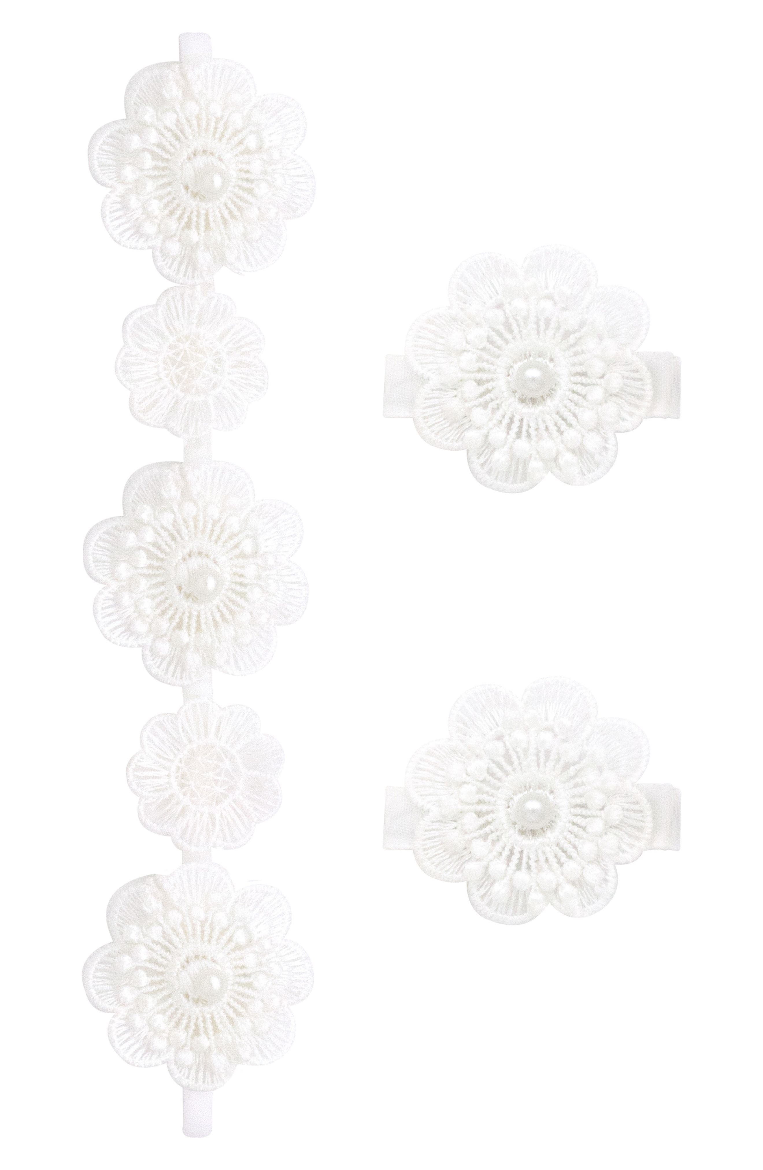 Headband & 2-Pack Hair Clips,                         Main,                         color, WHITE