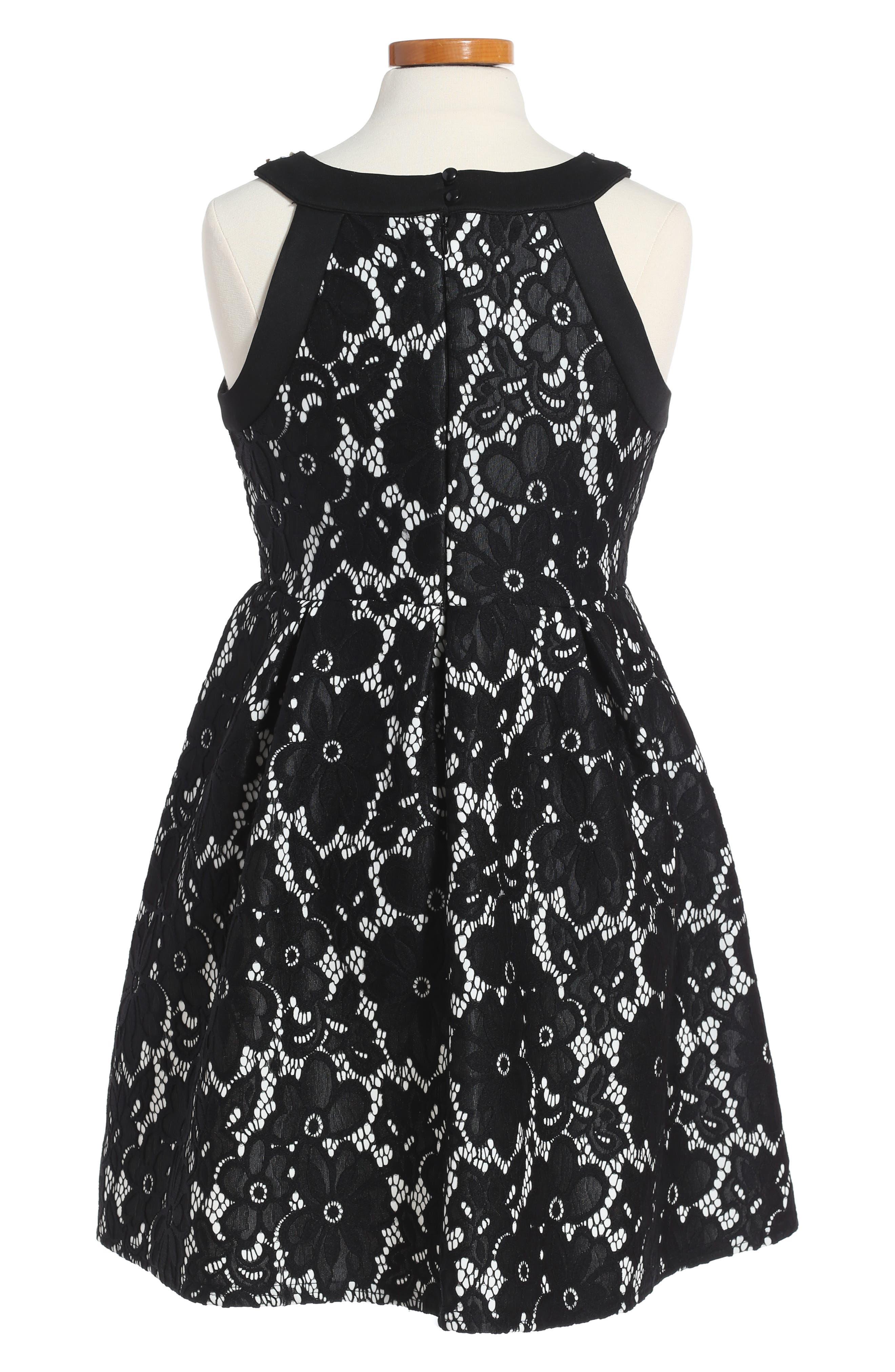 Embellished Laced Fit & Flare Dress,                             Alternate thumbnail 2, color,