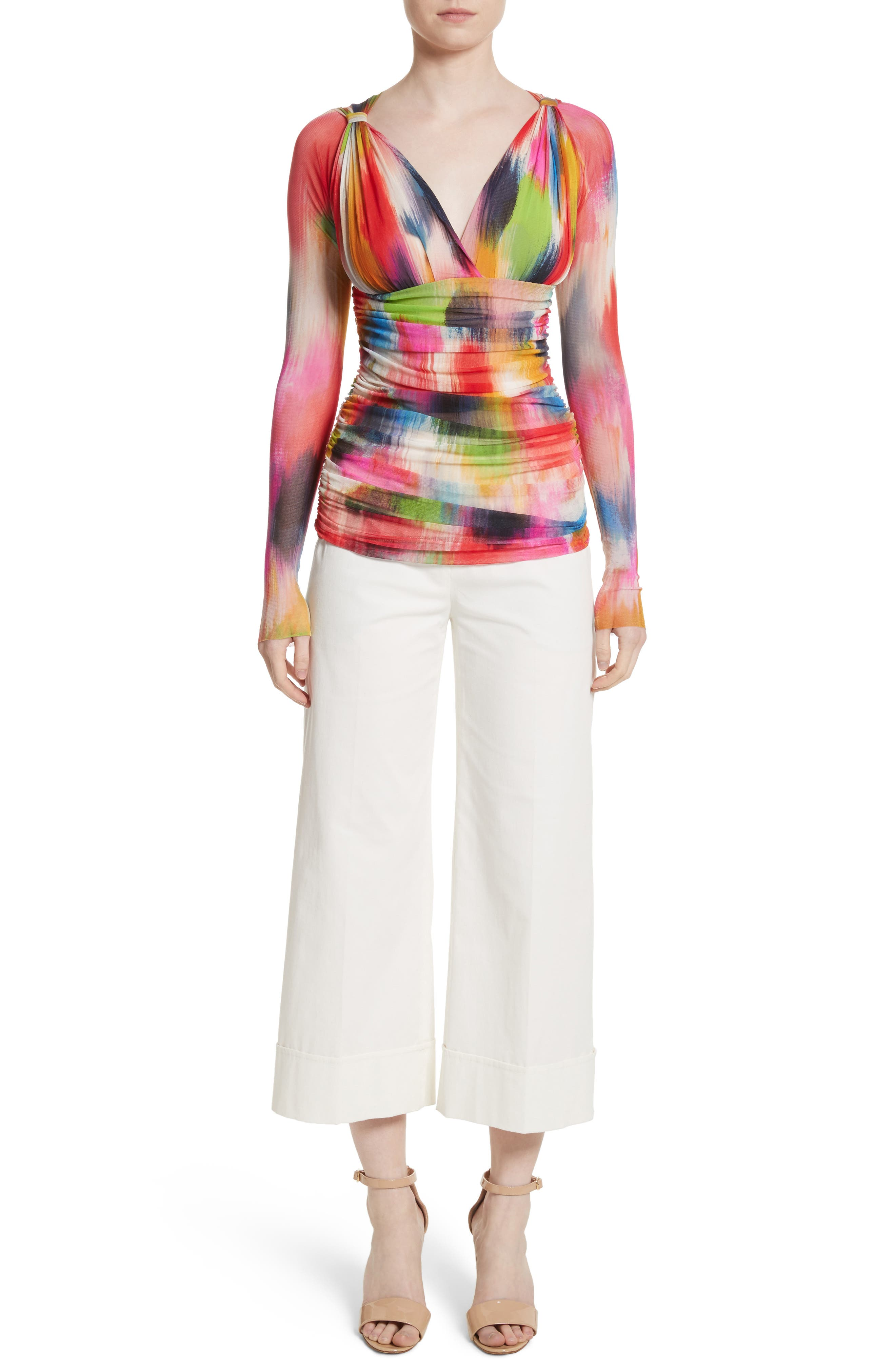 Brushstroke Print Ruched Tulle Top,                             Main thumbnail 1, color,
