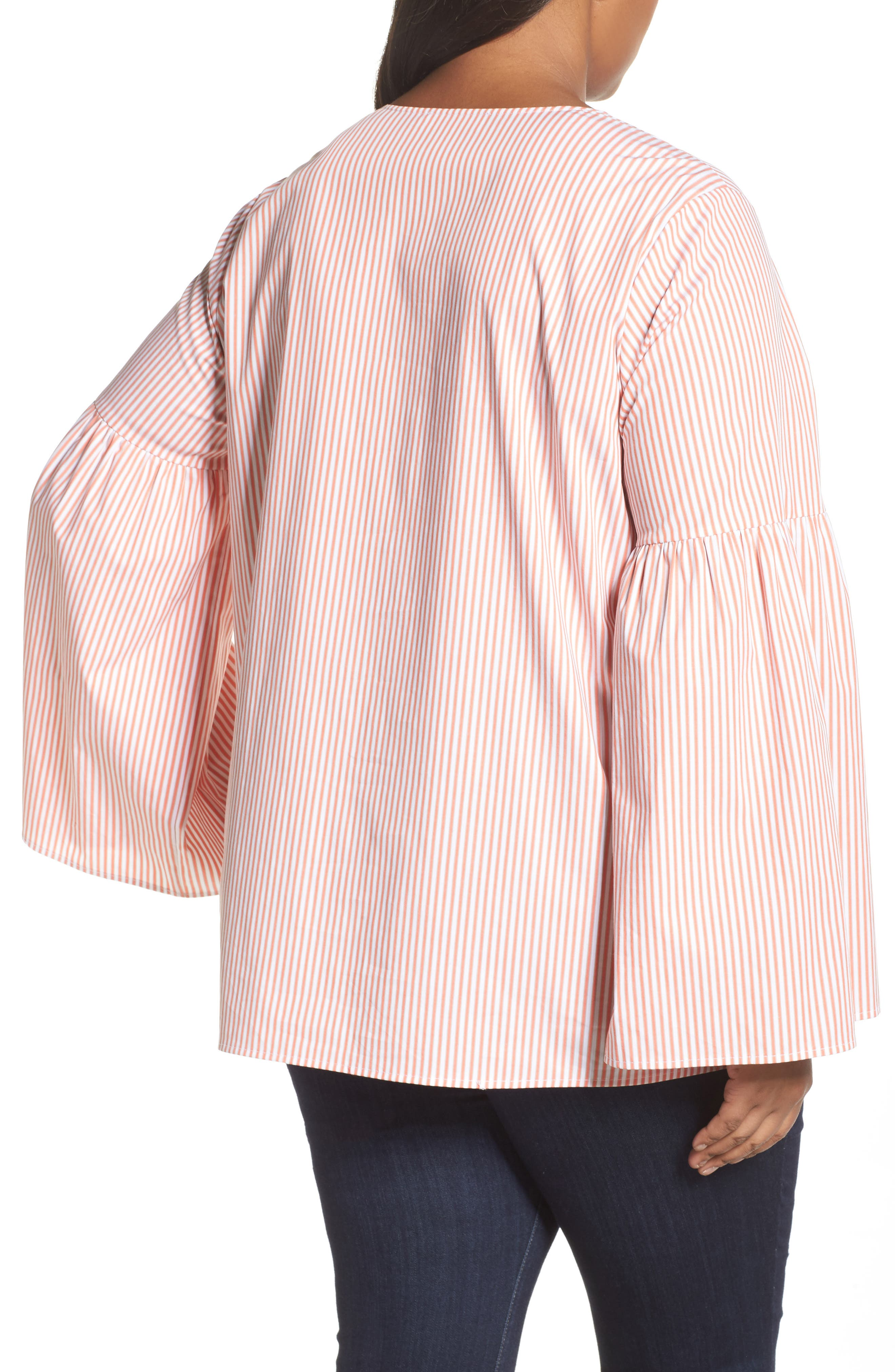 Lace-Up Bell Sleeve Top,                             Alternate thumbnail 2, color,                             816