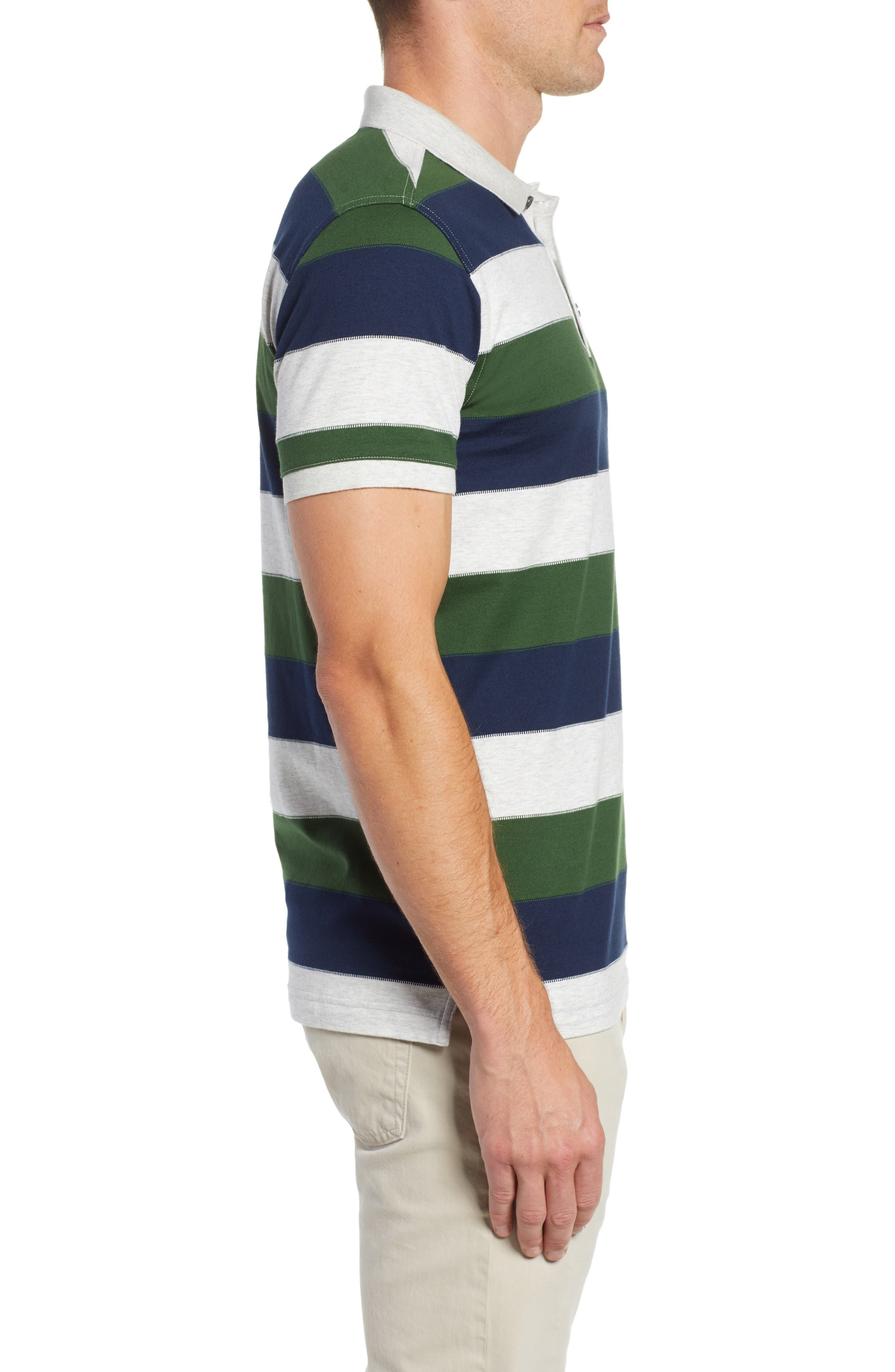 Rule 18 Regular Fit Wide Stripe Polo,                             Alternate thumbnail 3, color,                             020