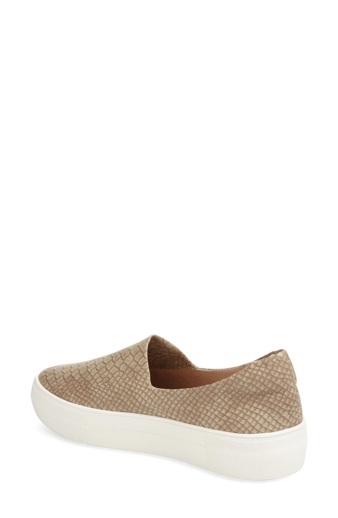 'Ariana' Platform Sneaker,                             Alternate thumbnail 2, color,                             TAUPE EMBOSSED LUX
