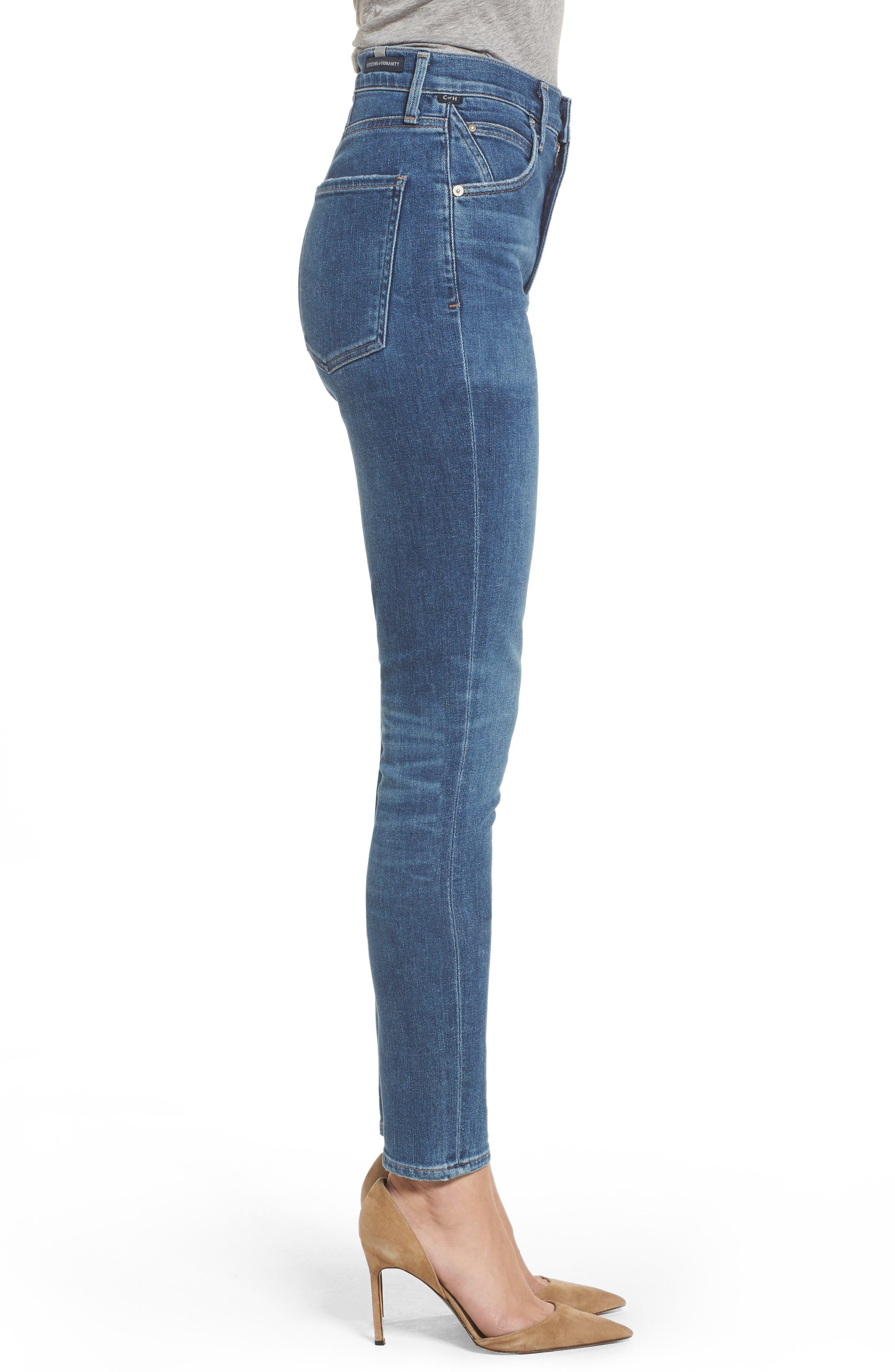 Chrissy High Waist Skinny Jeans,                             Alternate thumbnail 3, color,                             455