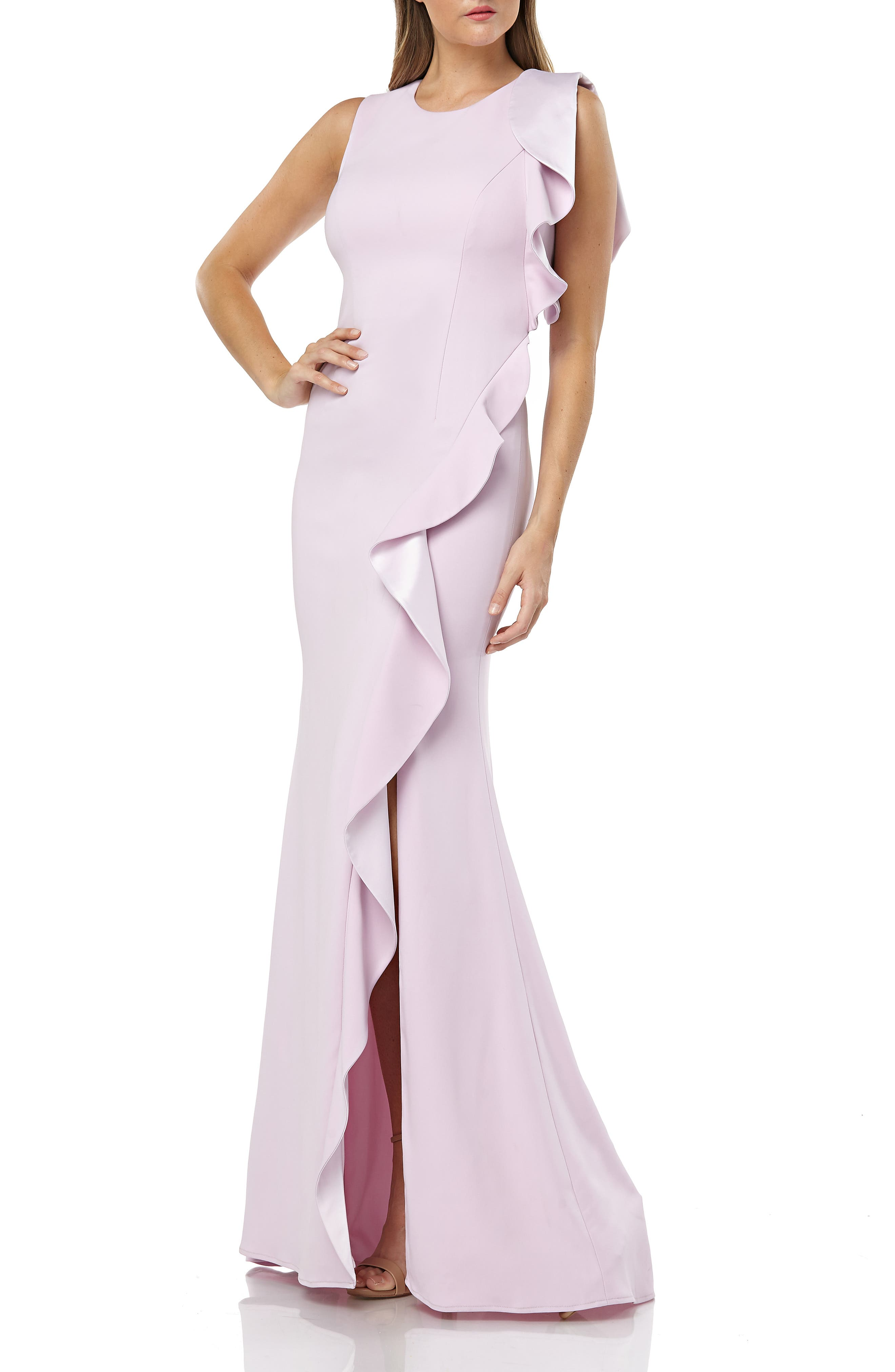 Carmen Marc Valvo Infusion Ruffle Gown, Purple