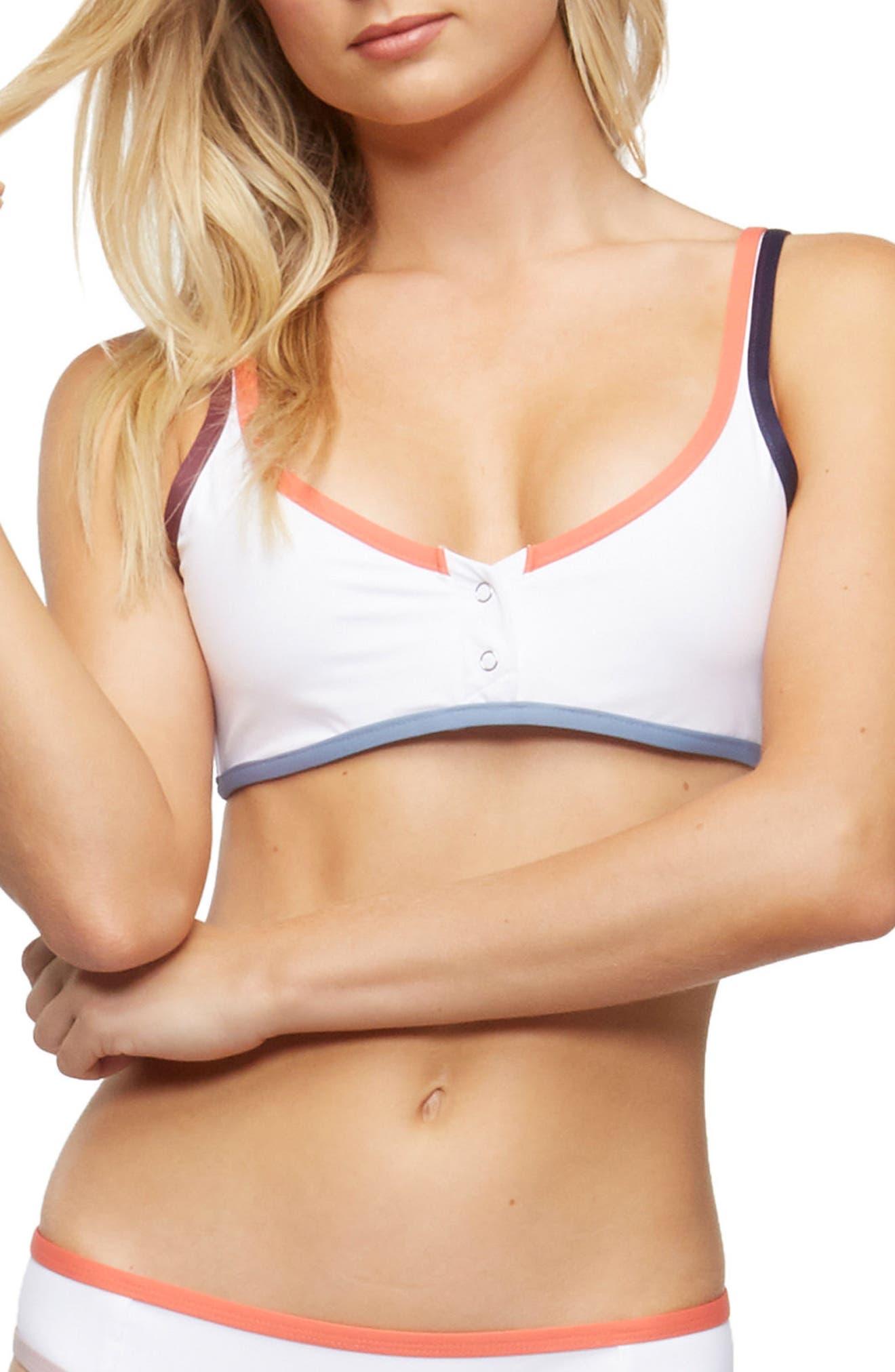 Marlowe Underwire Bikini Top,                             Main thumbnail 1, color,                             WHITE COLOR BLOCK
