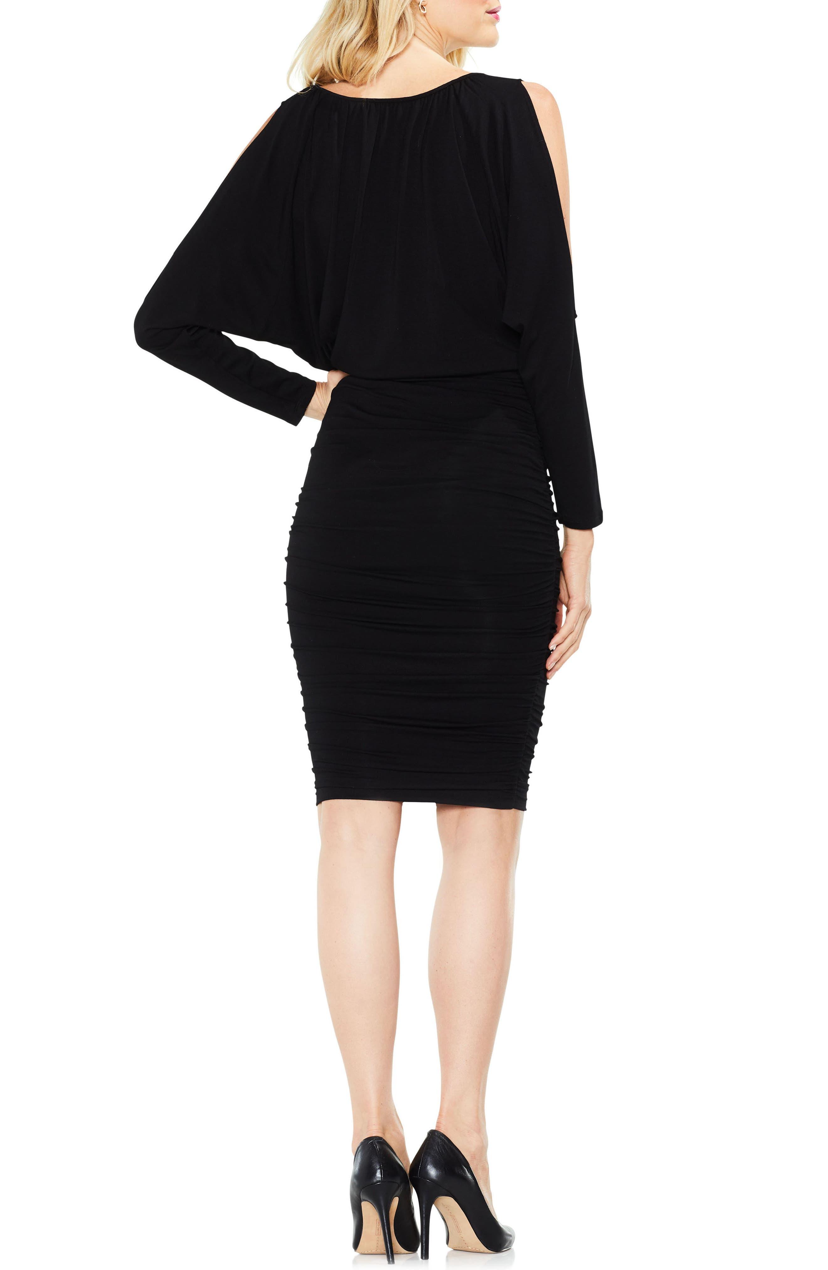 Cold Shoulder Ruched Dress,                             Alternate thumbnail 2, color,                             010