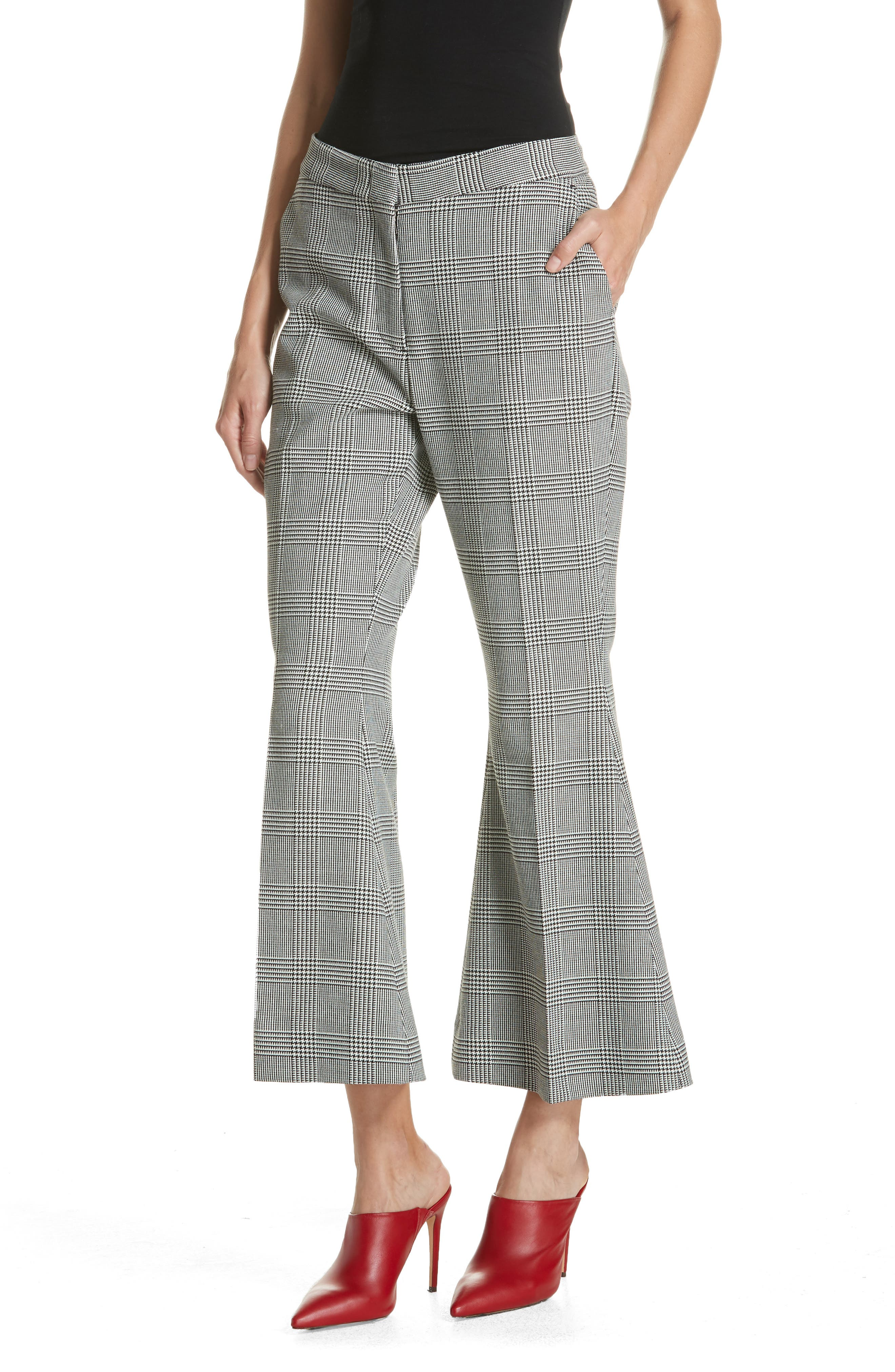 Checked Crop Flare Trousers,                             Alternate thumbnail 4, color,                             BLACK/ WHITE
