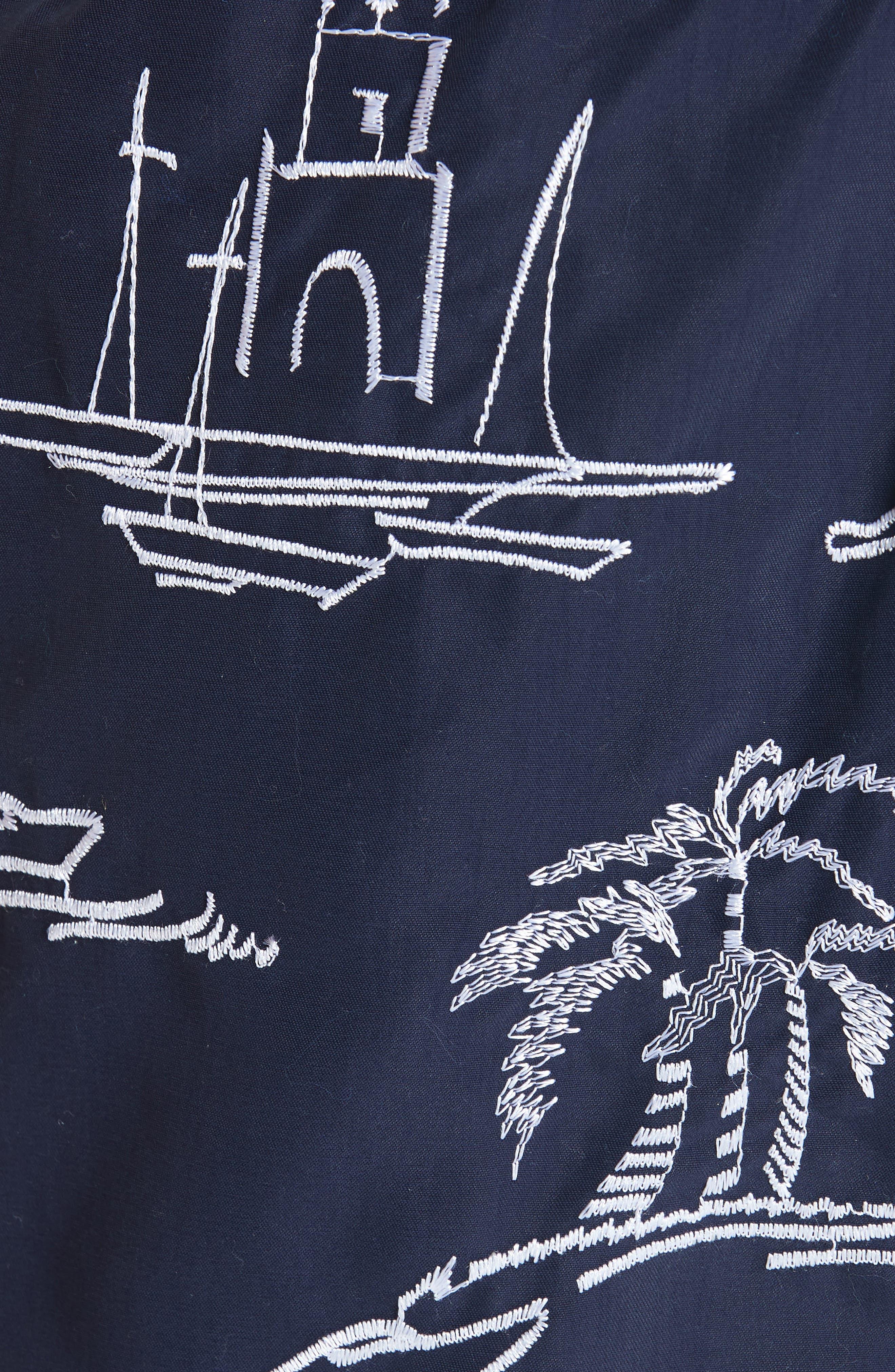 VILEBREQUIN,                             St. Tropez Embroidered Swim Trunks,                             Alternate thumbnail 5, color,                             BLUE