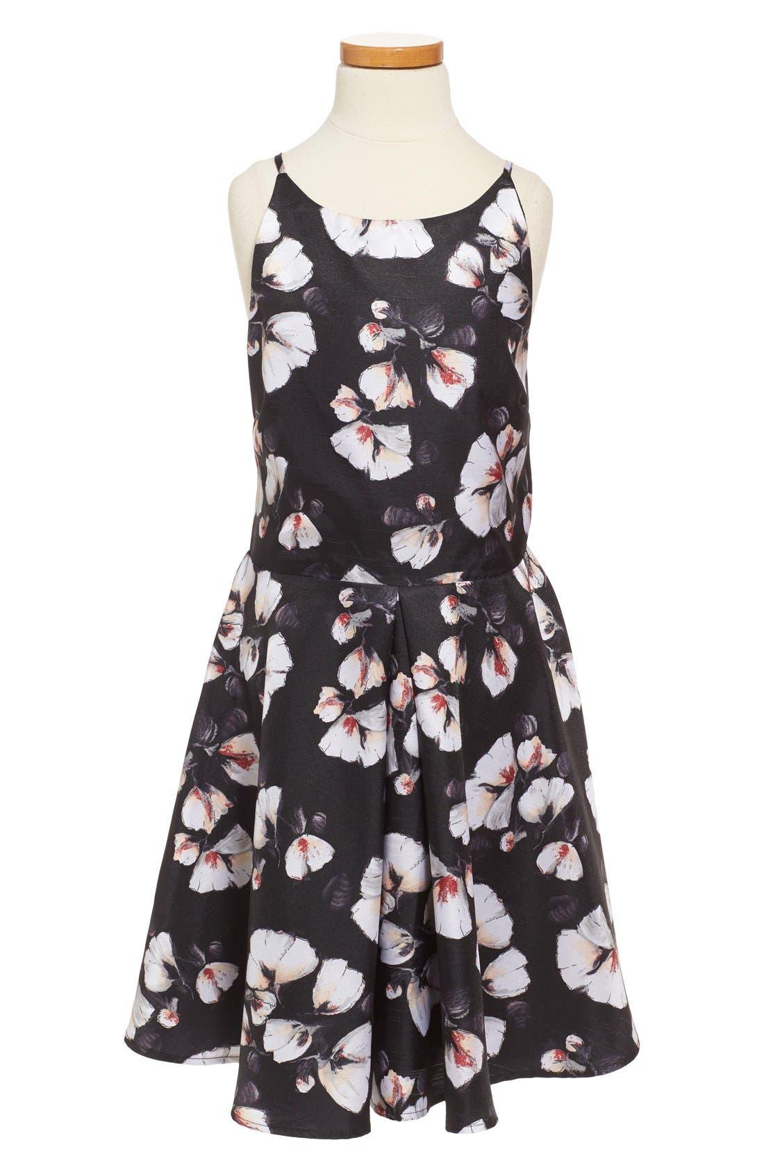 'Alexis' Flower Print Fit & Flare Dress,                             Main thumbnail 1, color,                             001