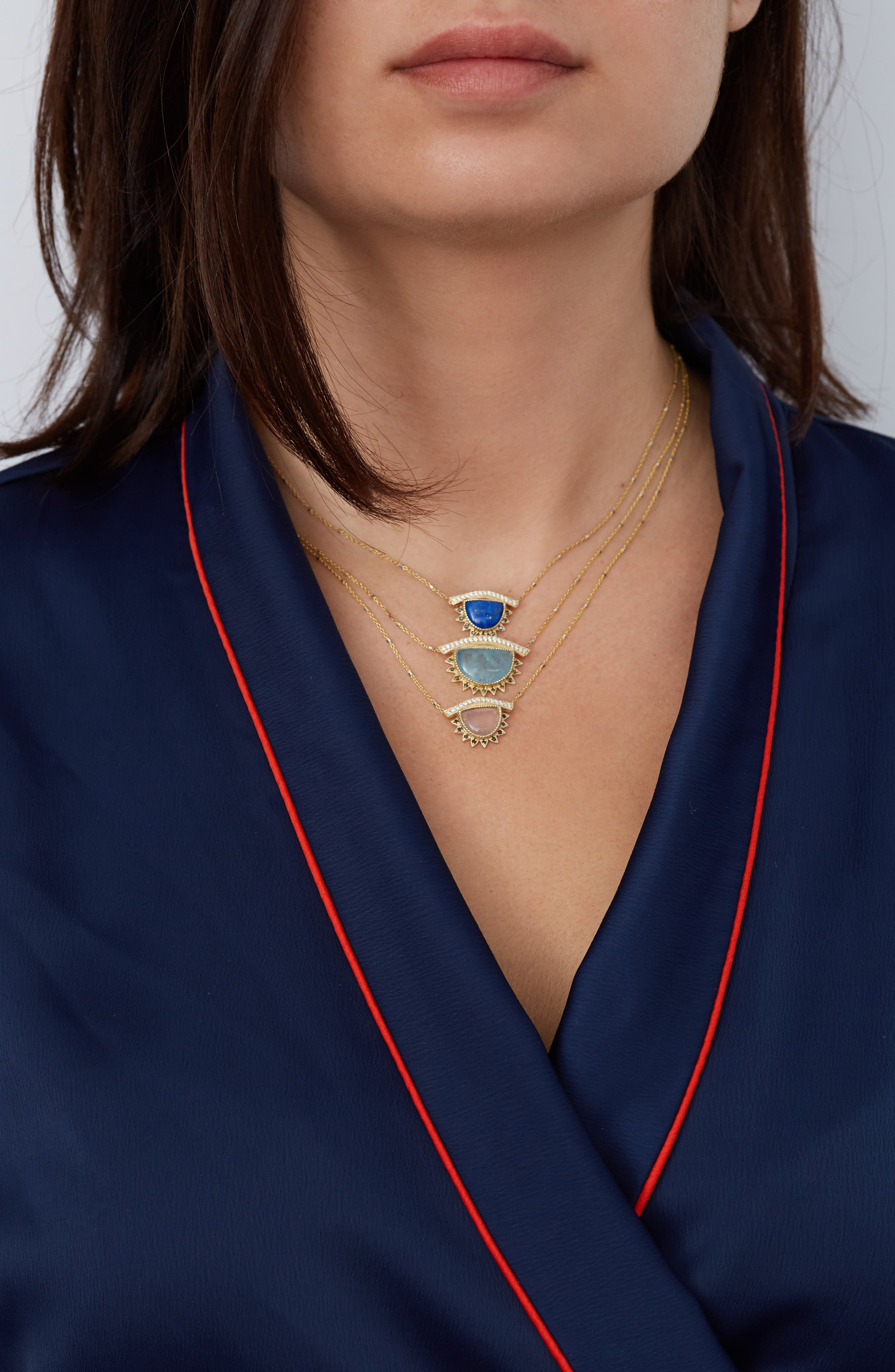 Inspire & Calm Small Third Eye Necklace,                             Alternate thumbnail 3, color,                             YELLOW GOLD
