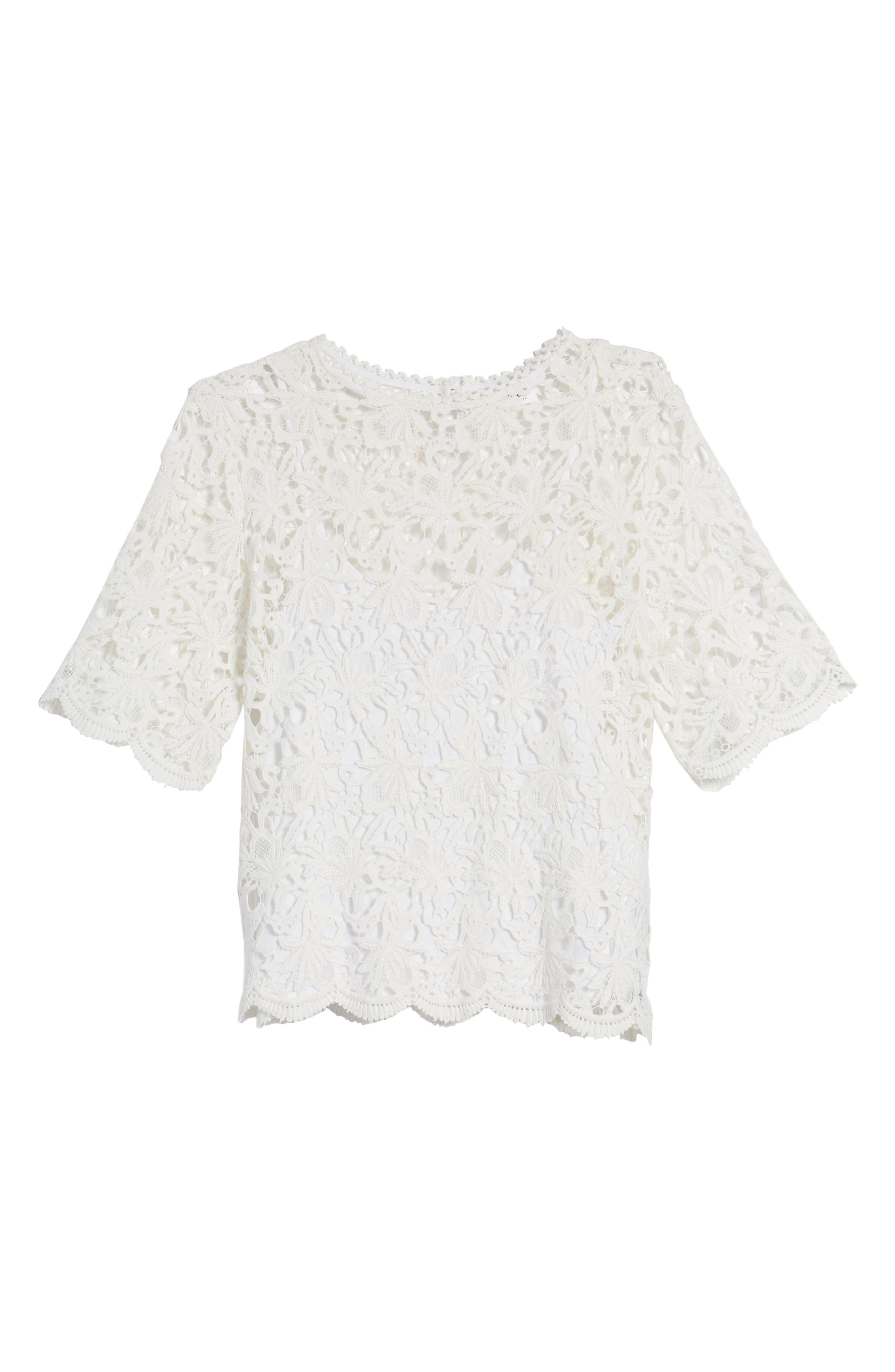Lace Elbow Sleeve Blouse,                             Alternate thumbnail 11, color,