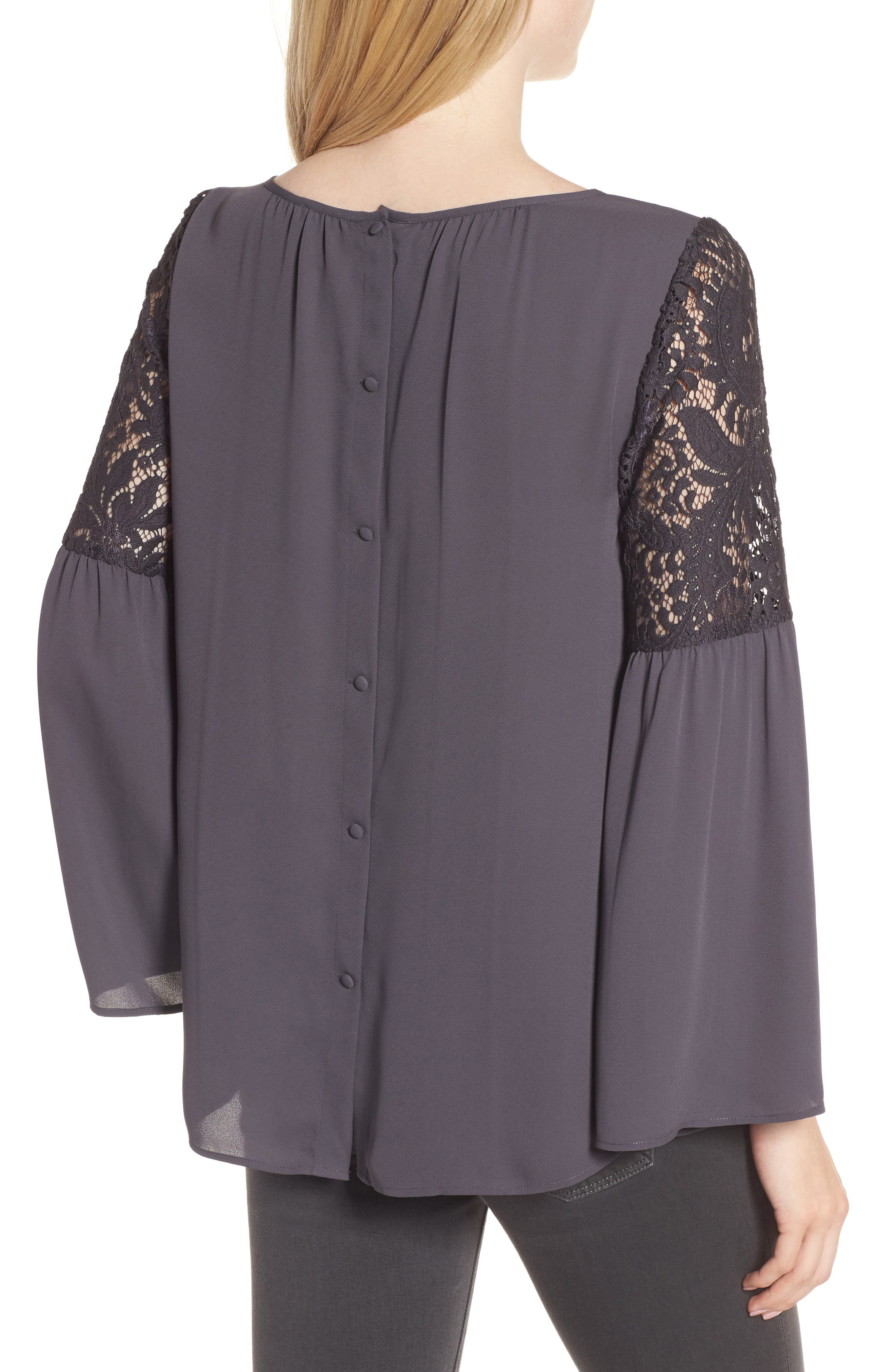 Lace Bell Sleeve Top,                             Alternate thumbnail 2, color,                             021