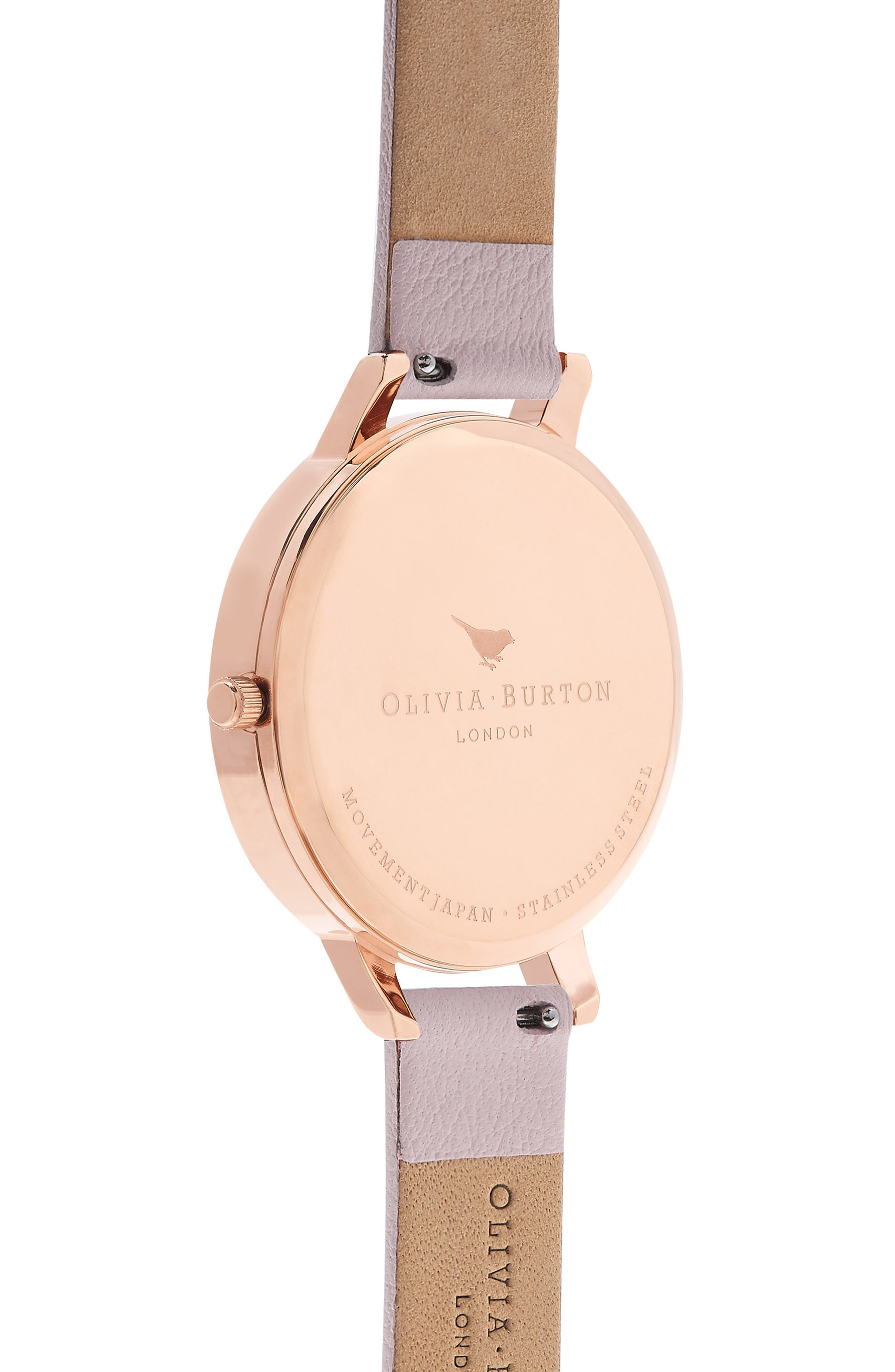 OLIVIA BURTON,                             Sunray Leather Strap Watch, 38mm,                             Alternate thumbnail 2, color,                             BLOSSOM/ ROSE GOLD