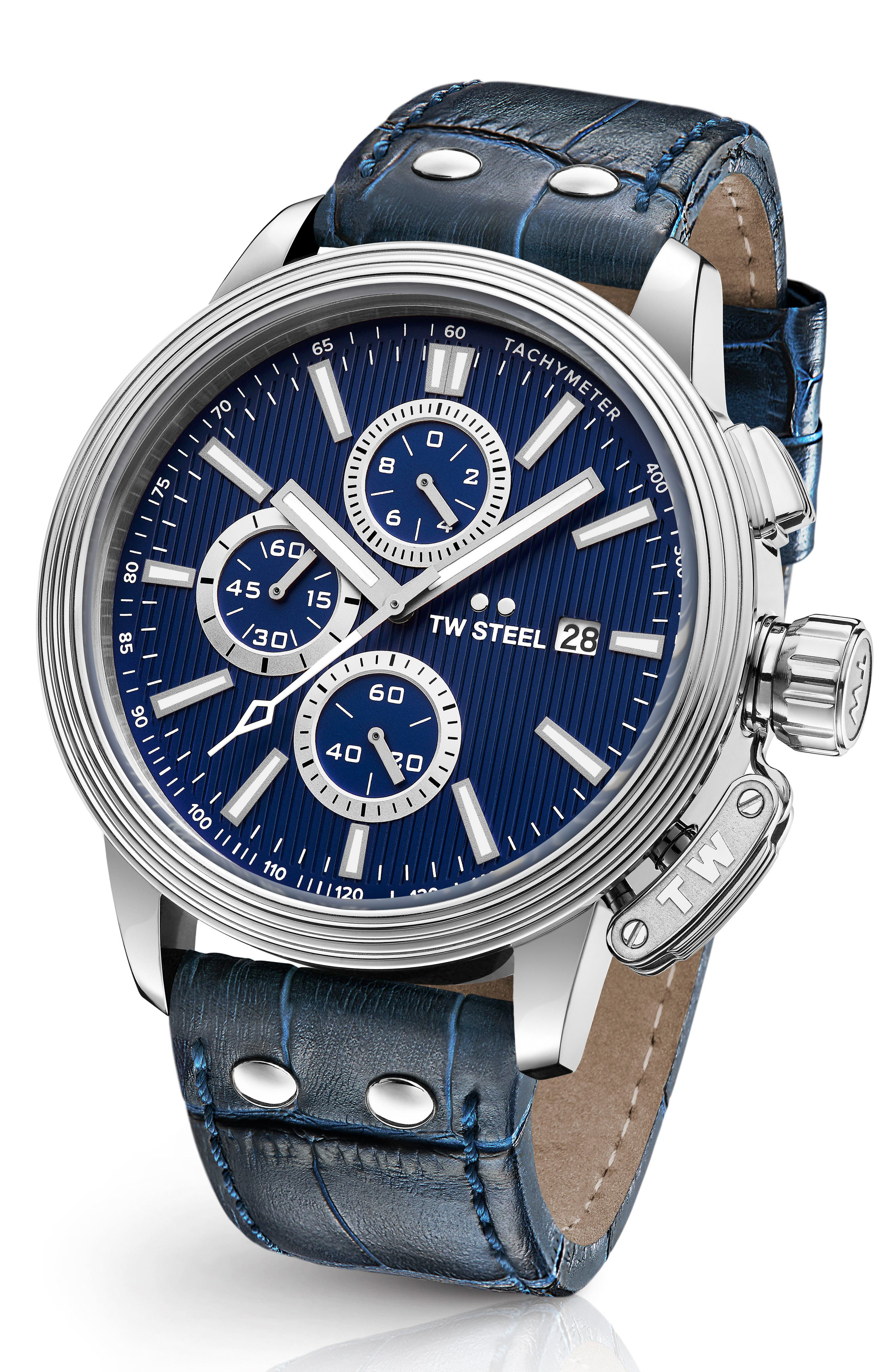 CEO Adesso Chronograph Leather Strap Watch, 48mm,                         Main,                         color, BLUE/ SILVER