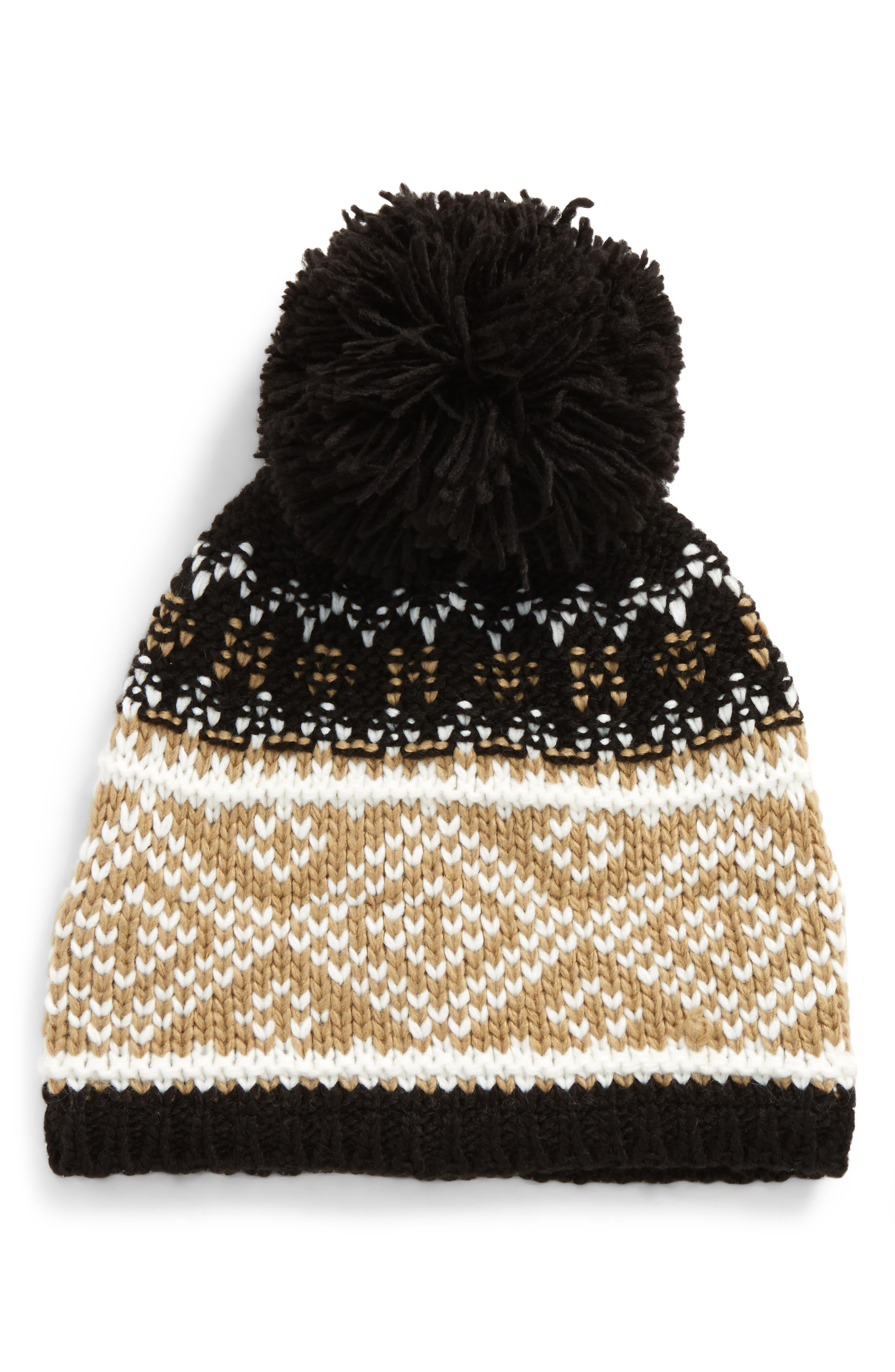 Fireside Pom Knit Beanie,                         Main,                         color, 001