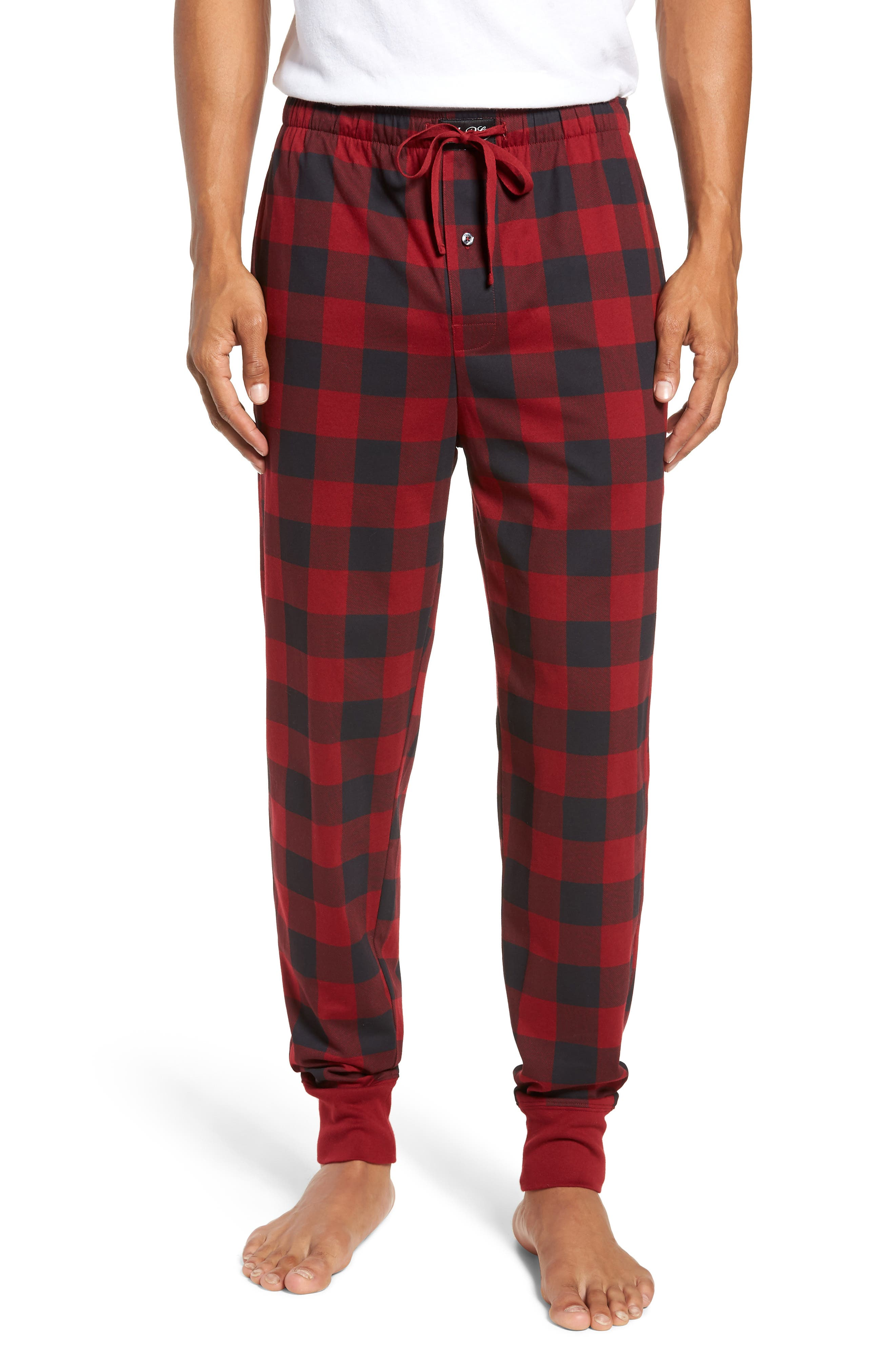 Cotton Lounge Pants,                         Main,                         color, HOLIDAY RED