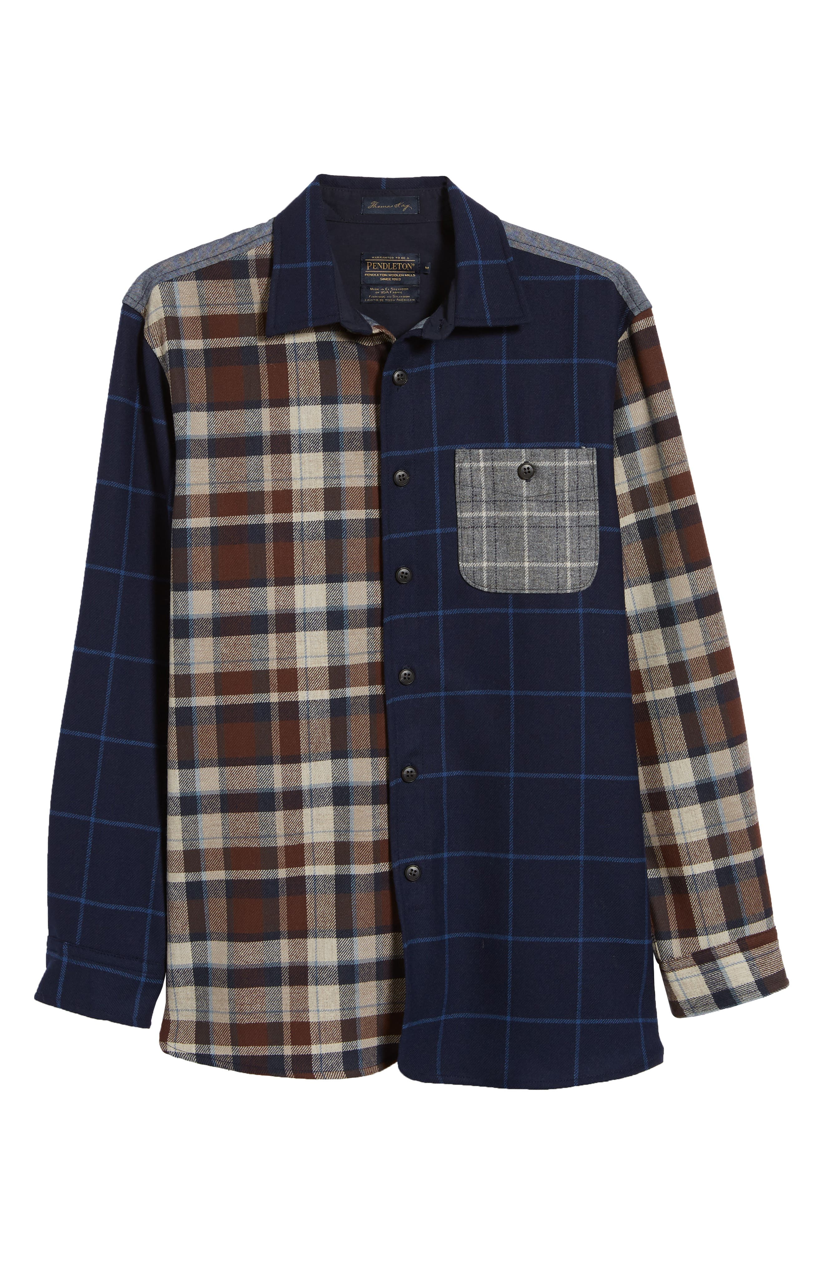 Pattern Block Wool Sport Shirt,                             Alternate thumbnail 5, color,                             MIX IT UP