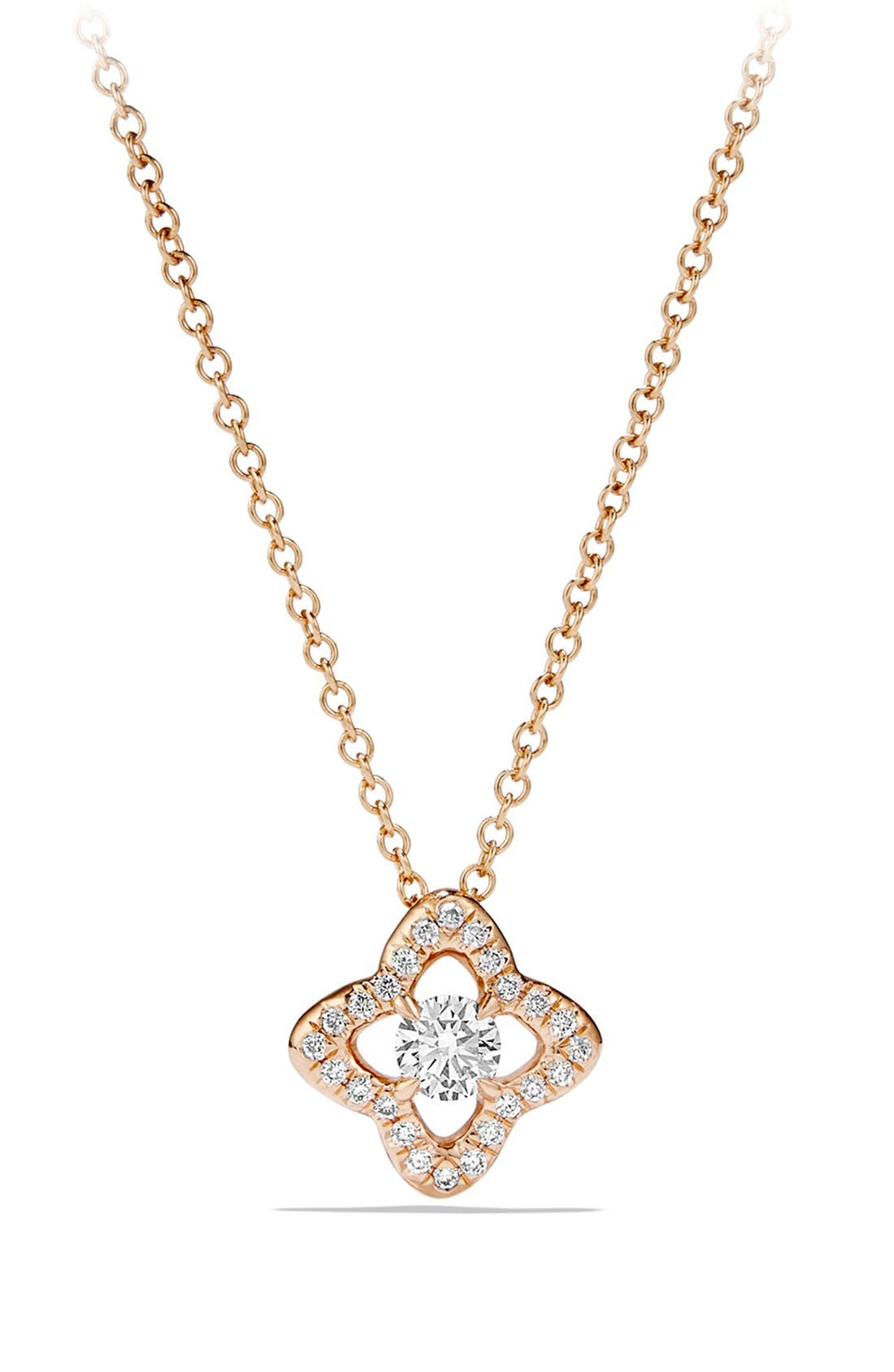 'Venetian Quatrefoil' Necklace with Diamonds in Gold,                         Main,                         color, ROSE GOLD