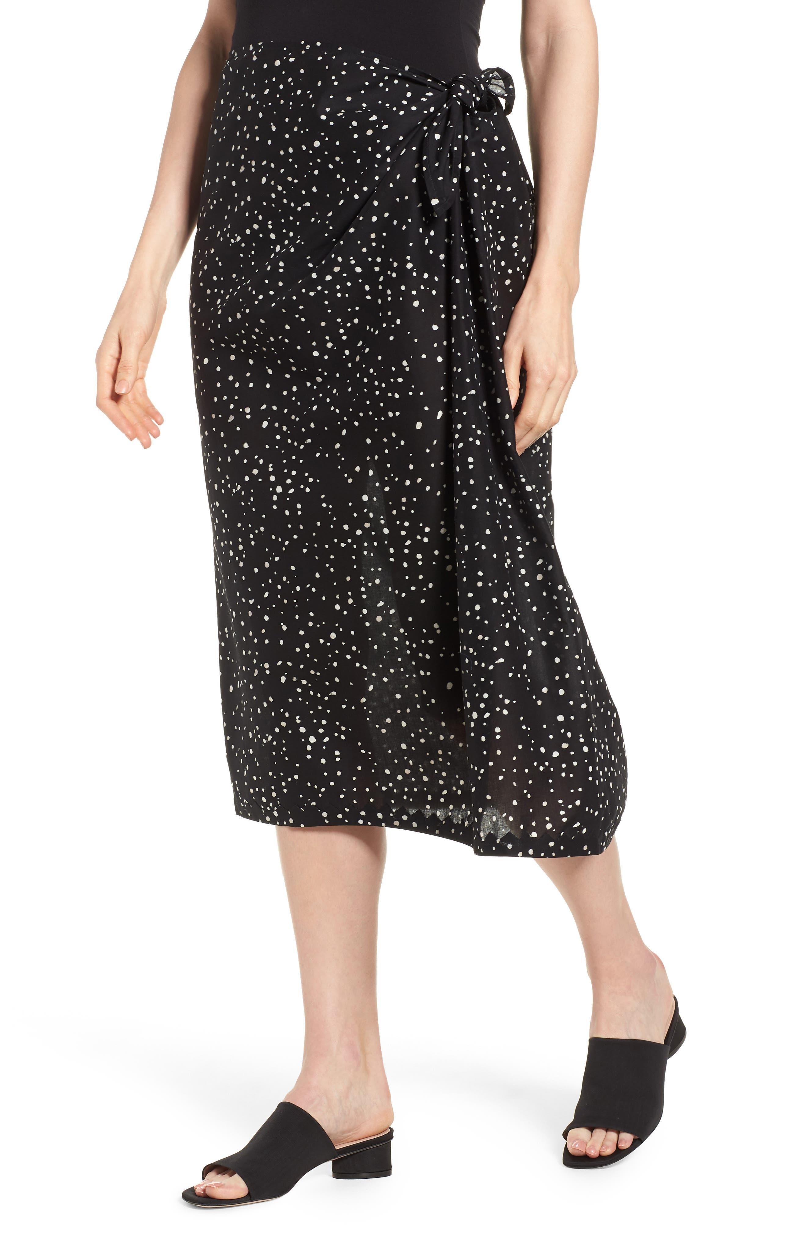 Faux Sarong Organic Cotton Skirt,                         Main,                         color, 001