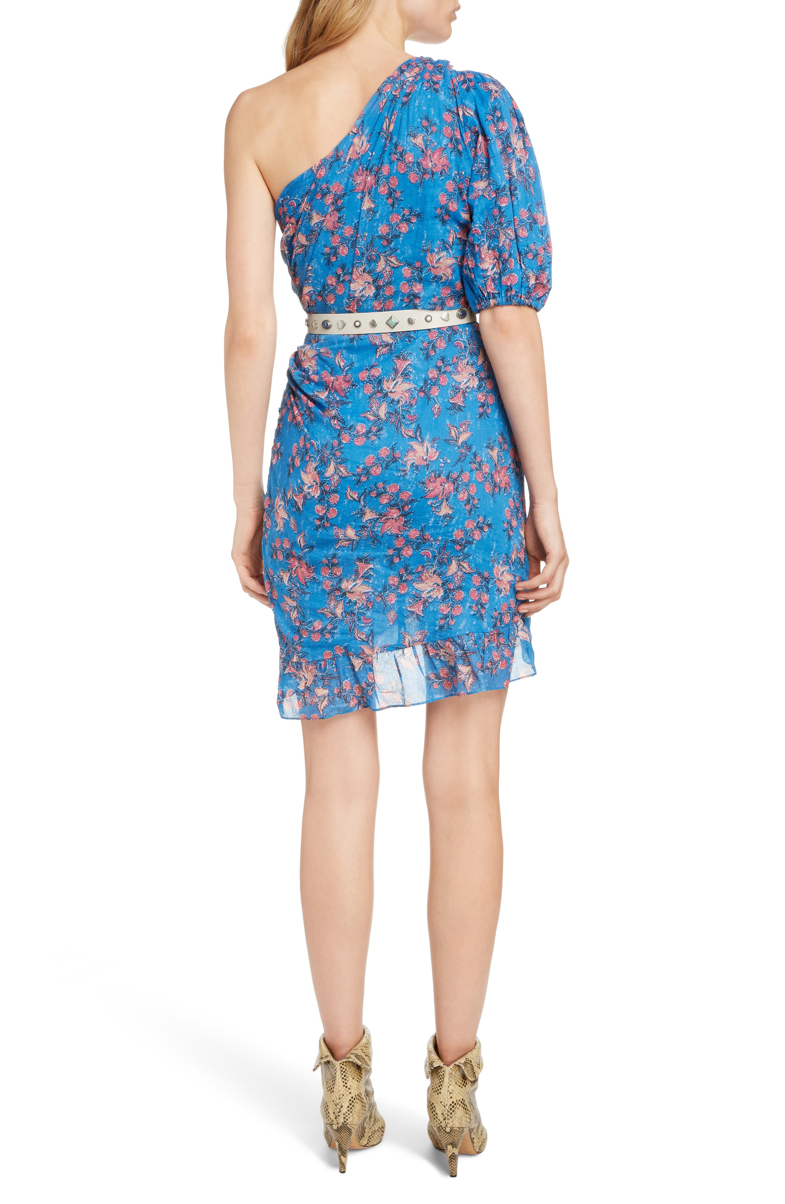 ISABEL MARANT ÉTOILE,                             Esther One-Shoulder Dress,                             Alternate thumbnail 2, color,                             BLUE
