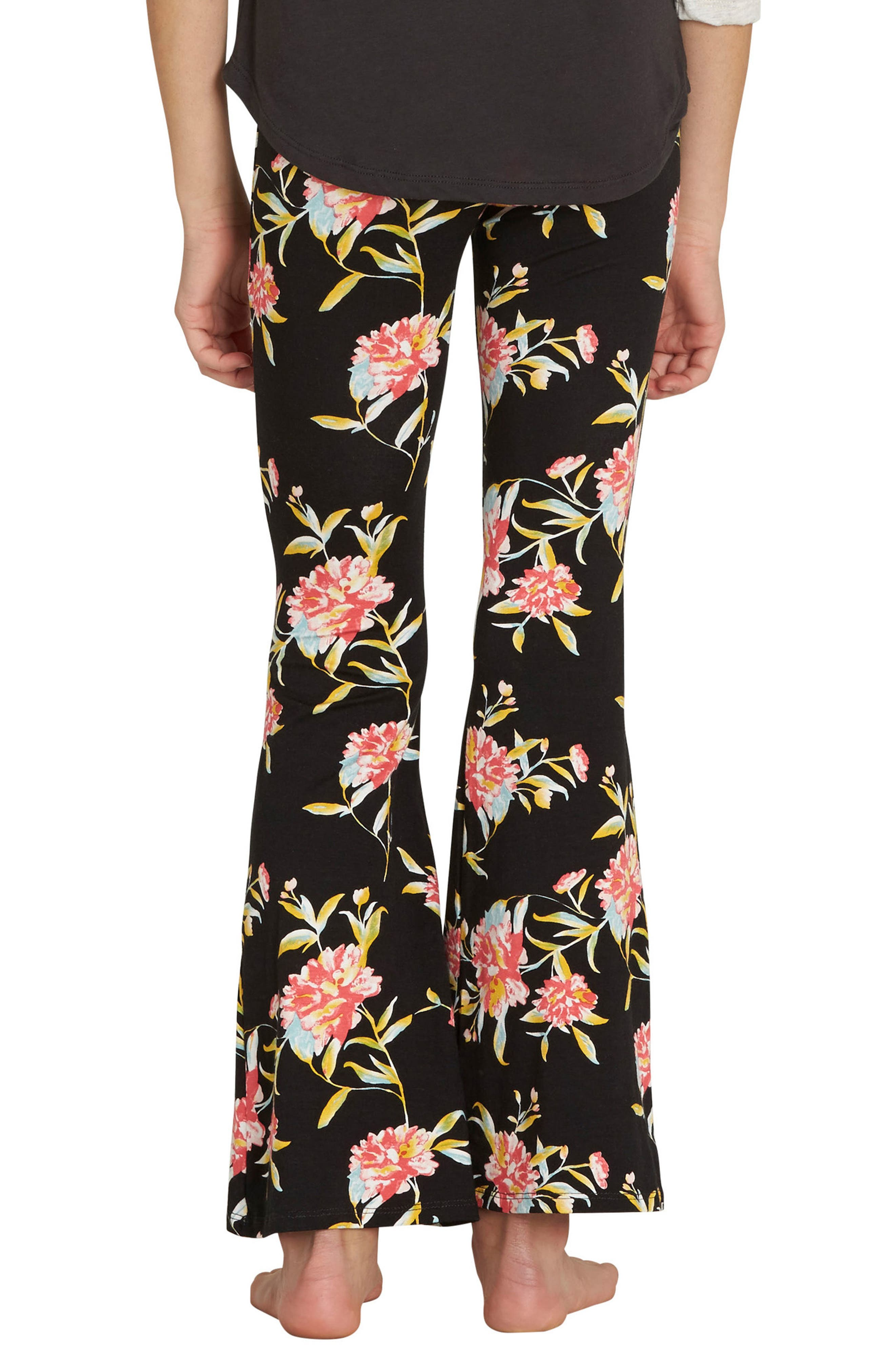 Every Day Flower Print Pants,                             Alternate thumbnail 2, color,                             001