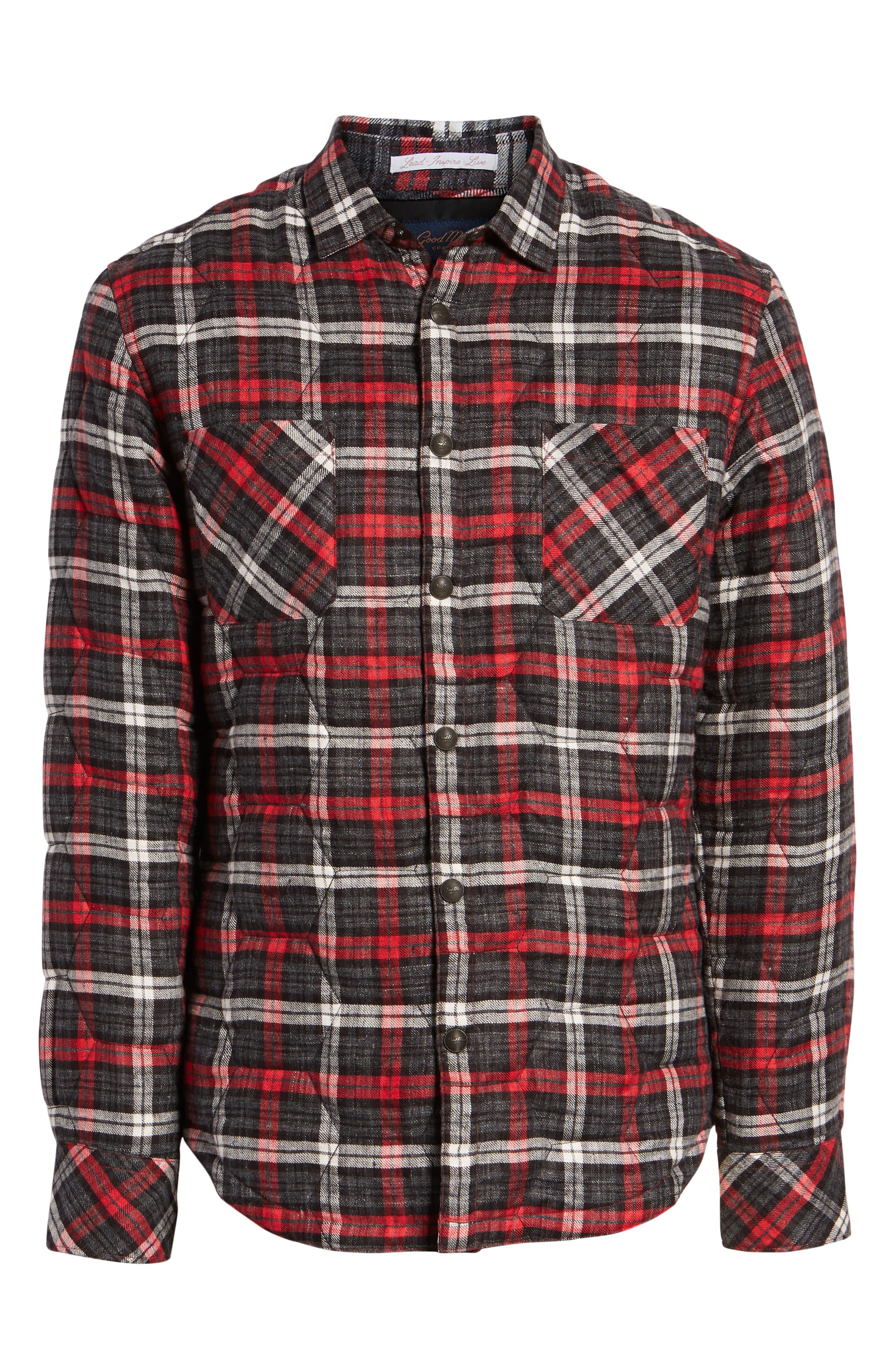 Slim Fit Linen Plaid Shirt Jacket,                             Alternate thumbnail 5, color,                             CHARCOAL
