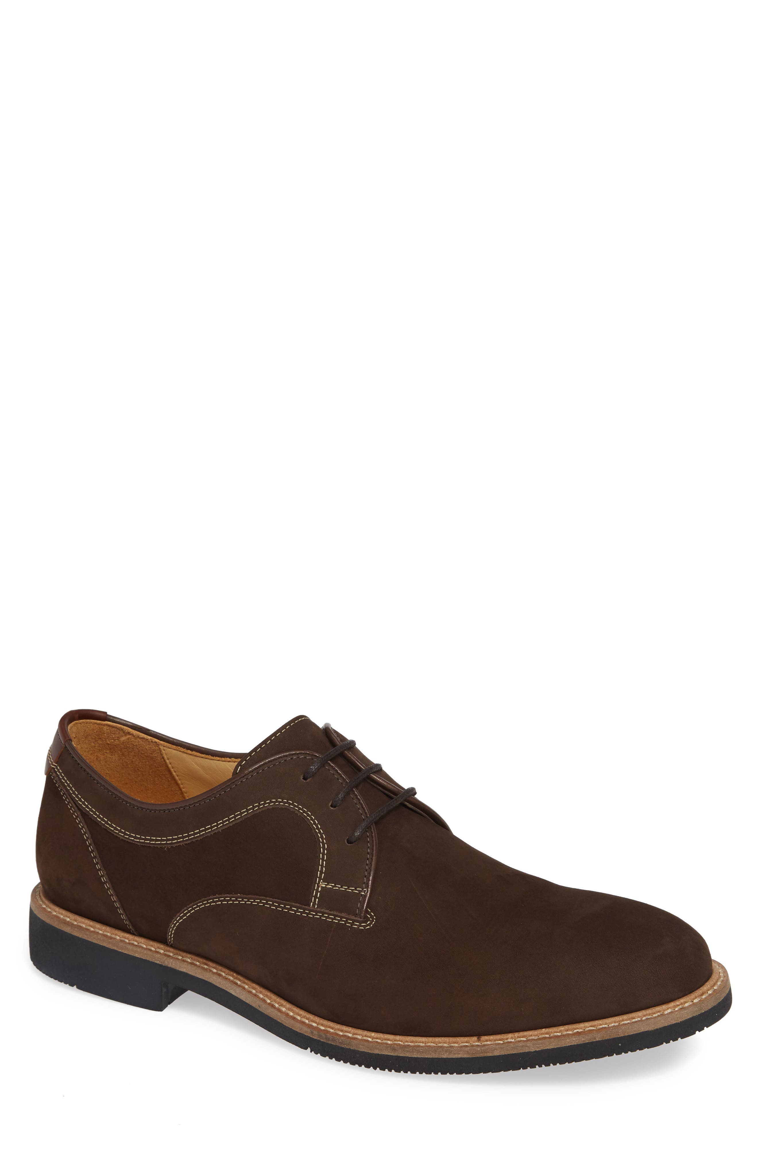 JOHNSTON & MURPHY,                             Barlow Plain Toe Derby,                             Main thumbnail 1, color,                             CHOCOLATE NUBUCK