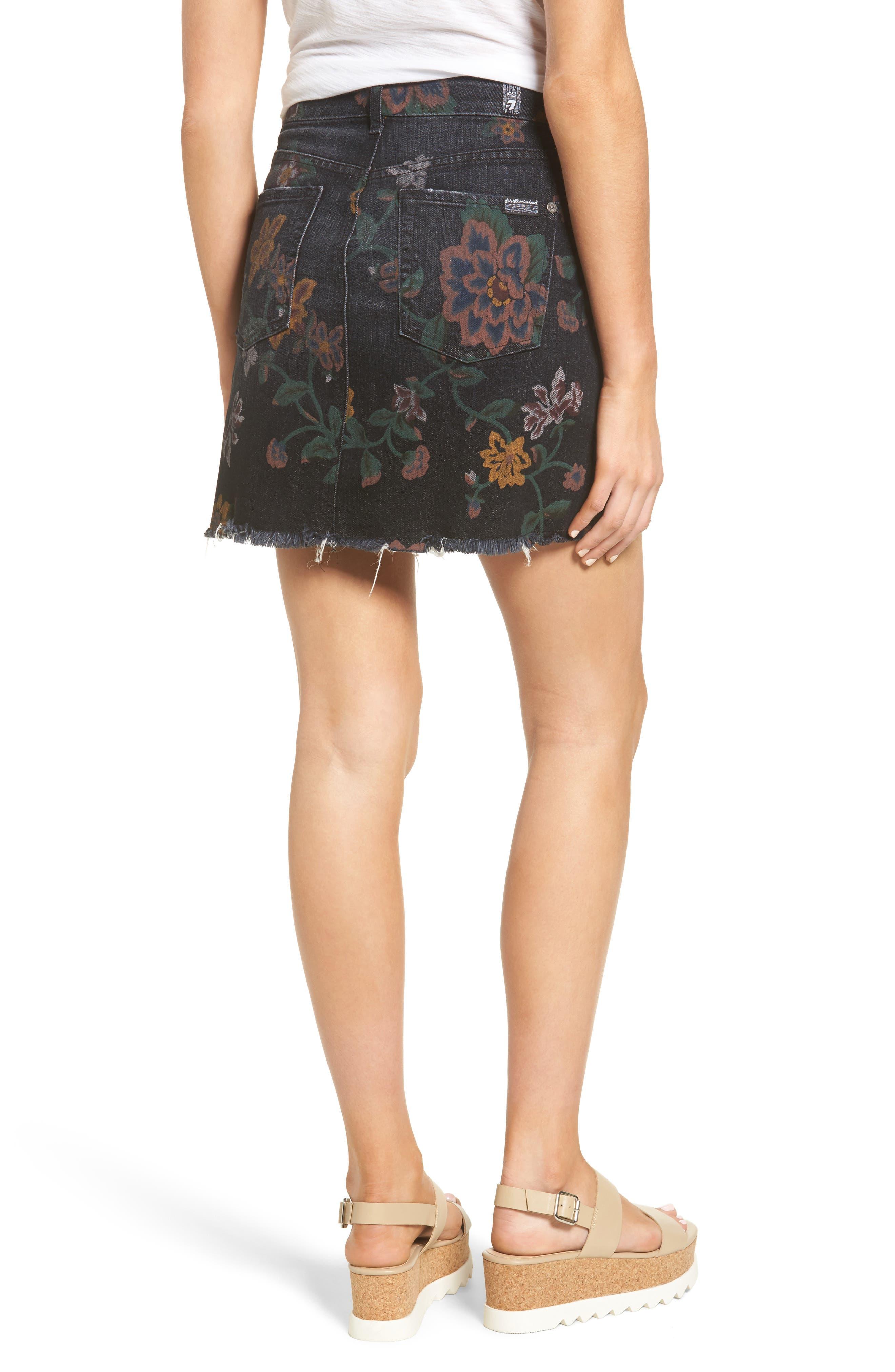 Print Denim Miniskirt,                             Alternate thumbnail 2, color,                             004