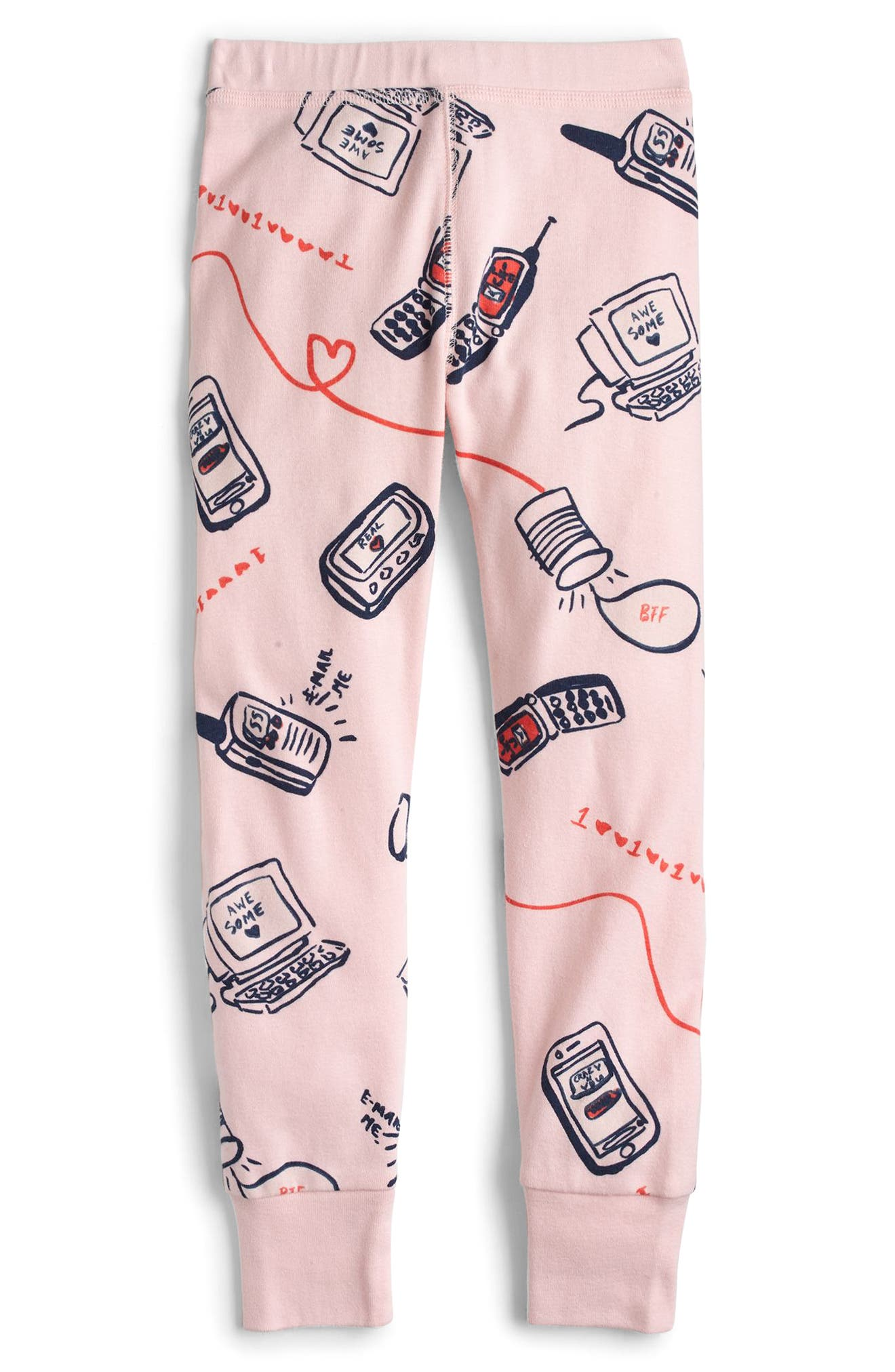Long Distance Relationship Fitted Two-Piece Pajamas,                             Alternate thumbnail 4, color,                             650