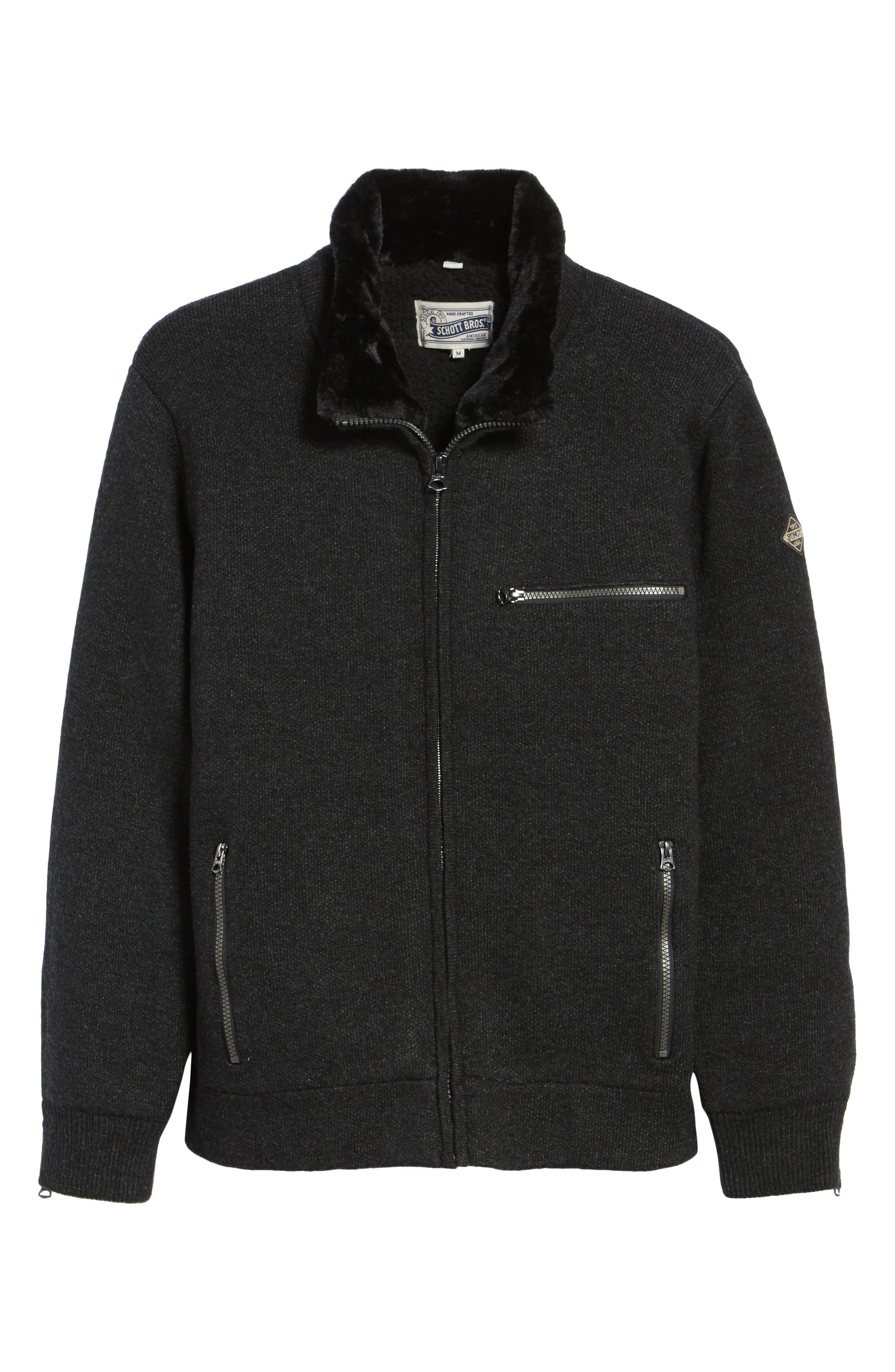 Caf Faux Fur Lined Sweater Jacket,                             Alternate thumbnail 6, color,                             BLACK