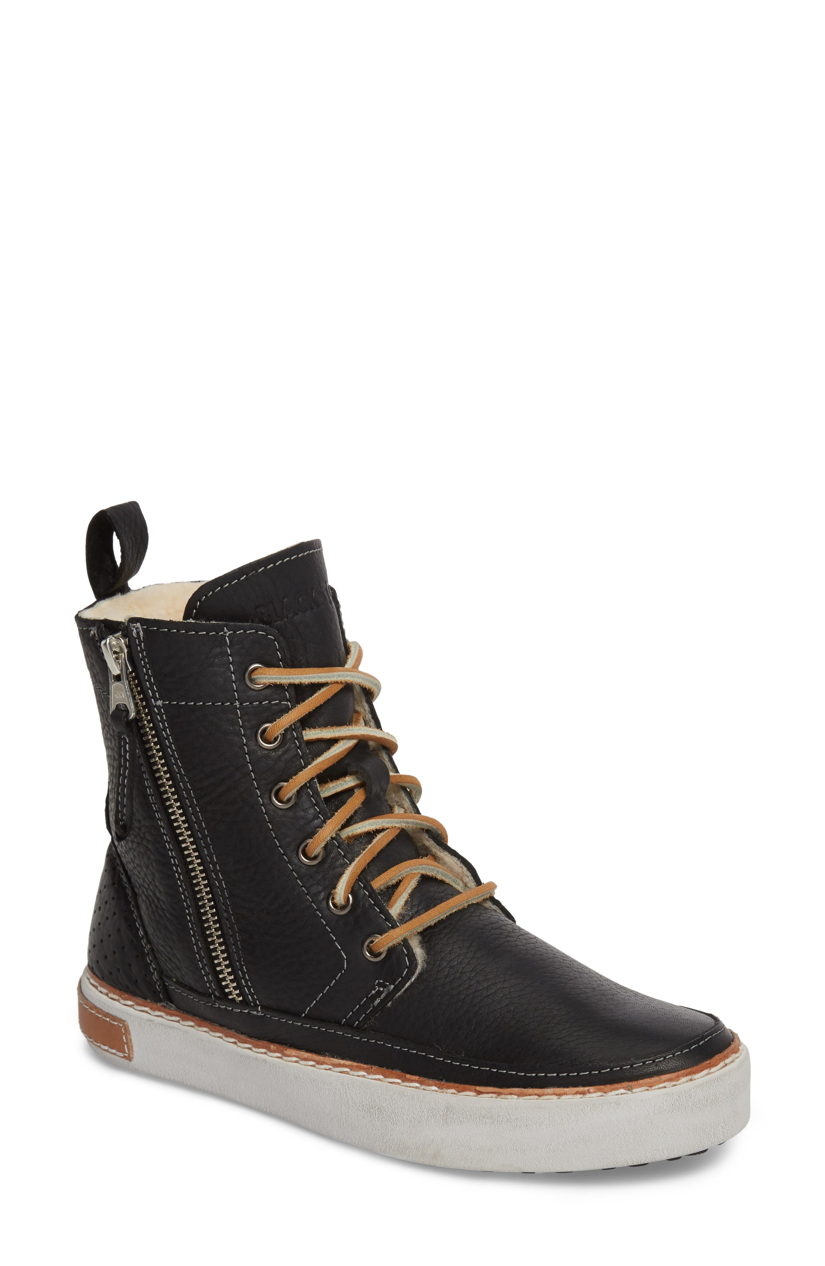 'CW96' Genuine Shearling Lined Sneaker Boot,                             Main thumbnail 1, color,                             BLACK LEATHER