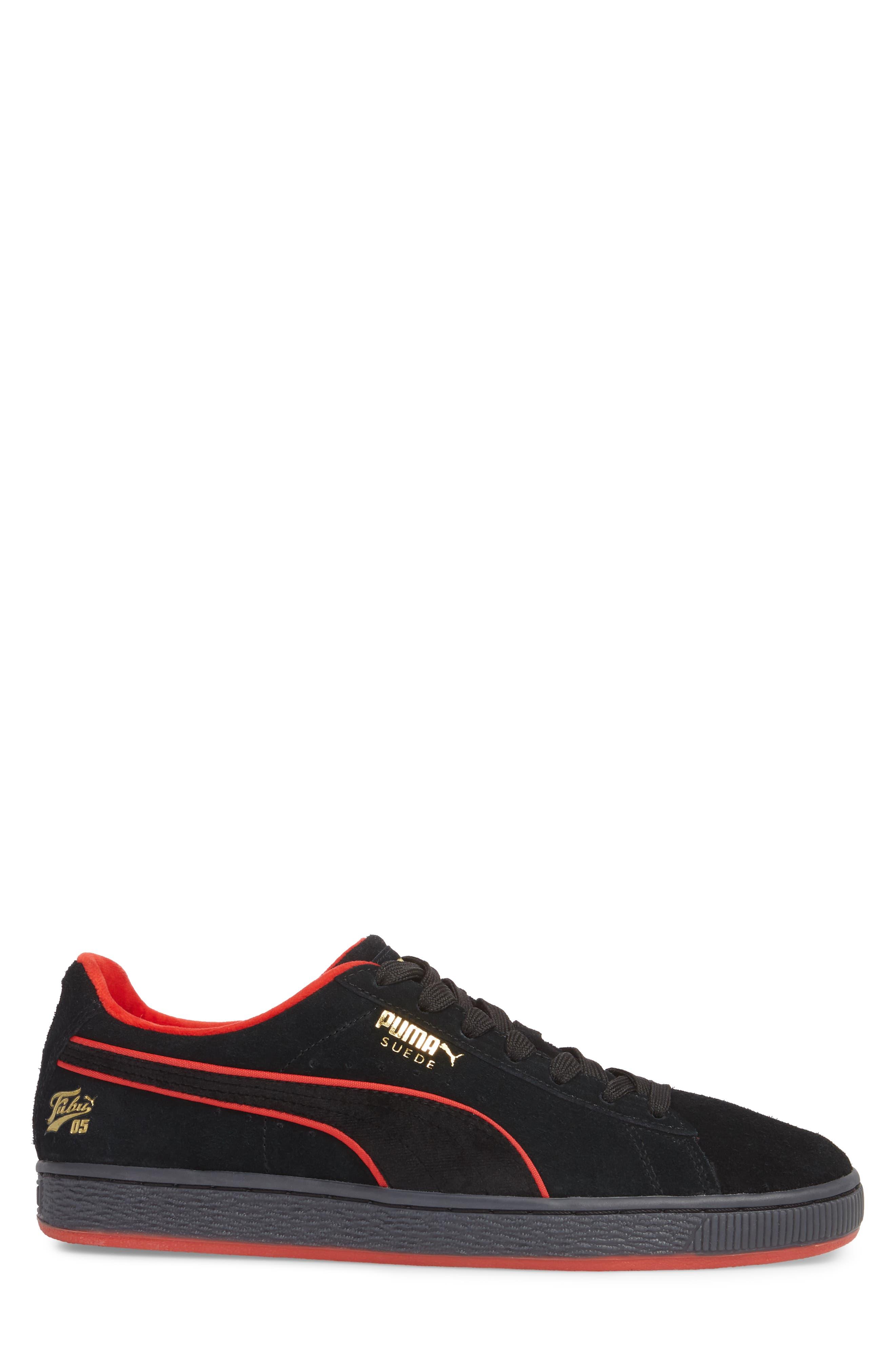 x FUBU Suede Classic Sneaker,                             Alternate thumbnail 3, color,                             001
