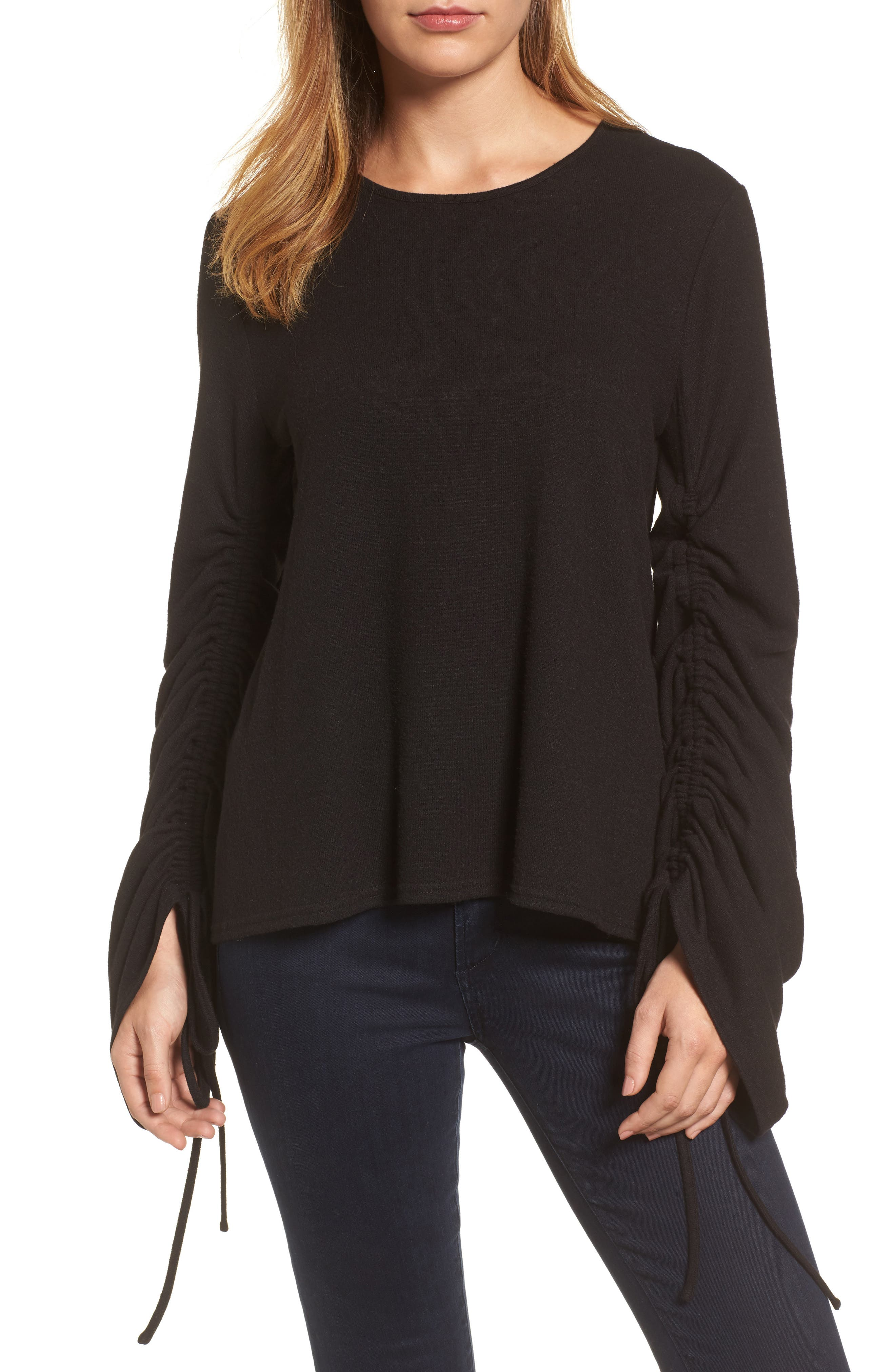 Brushed Jersey Ruched Sleeve Top,                             Main thumbnail 1, color,