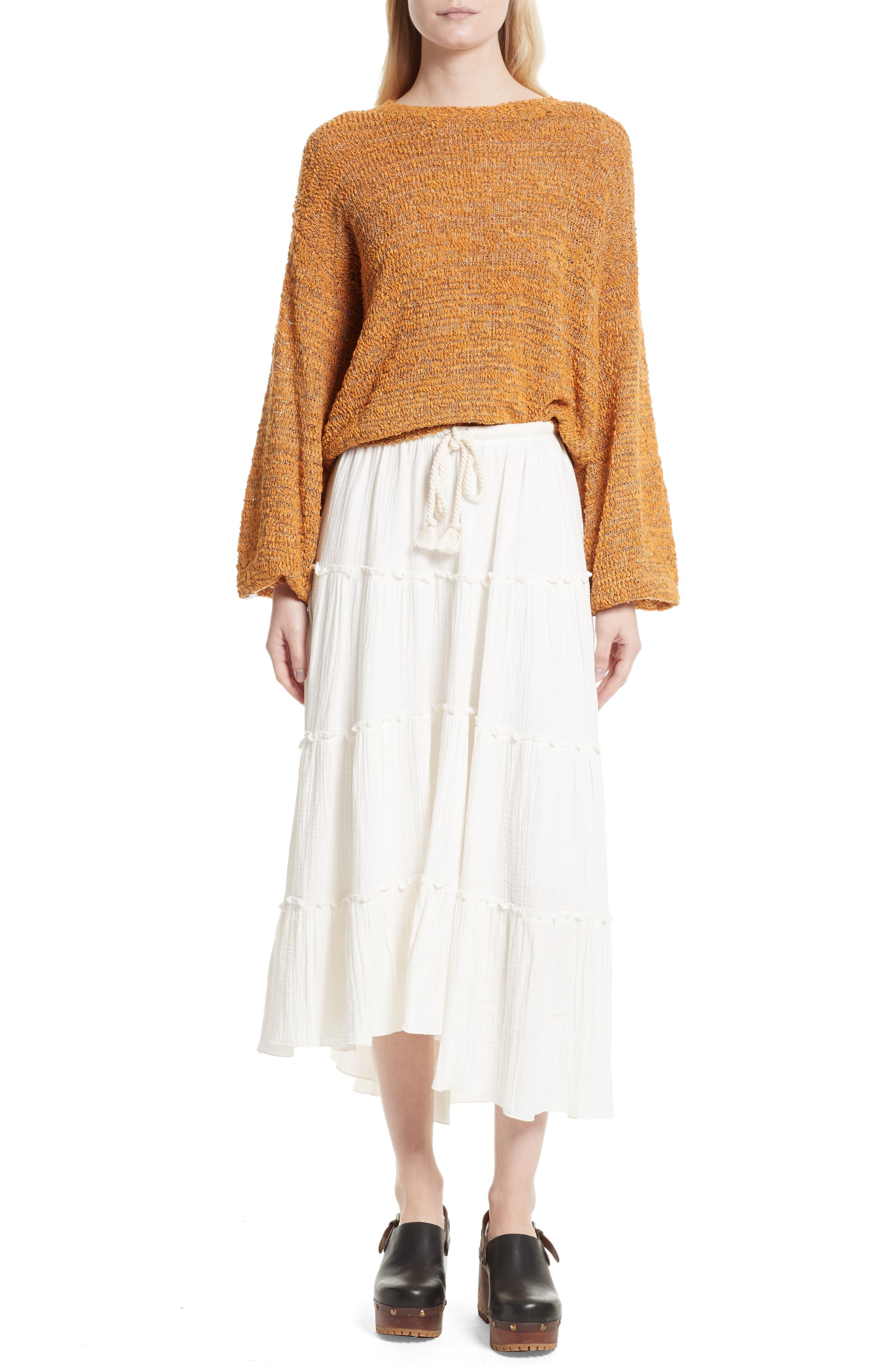 Crinkled Cotton Midi Skirt,                             Alternate thumbnail 7, color,                             101