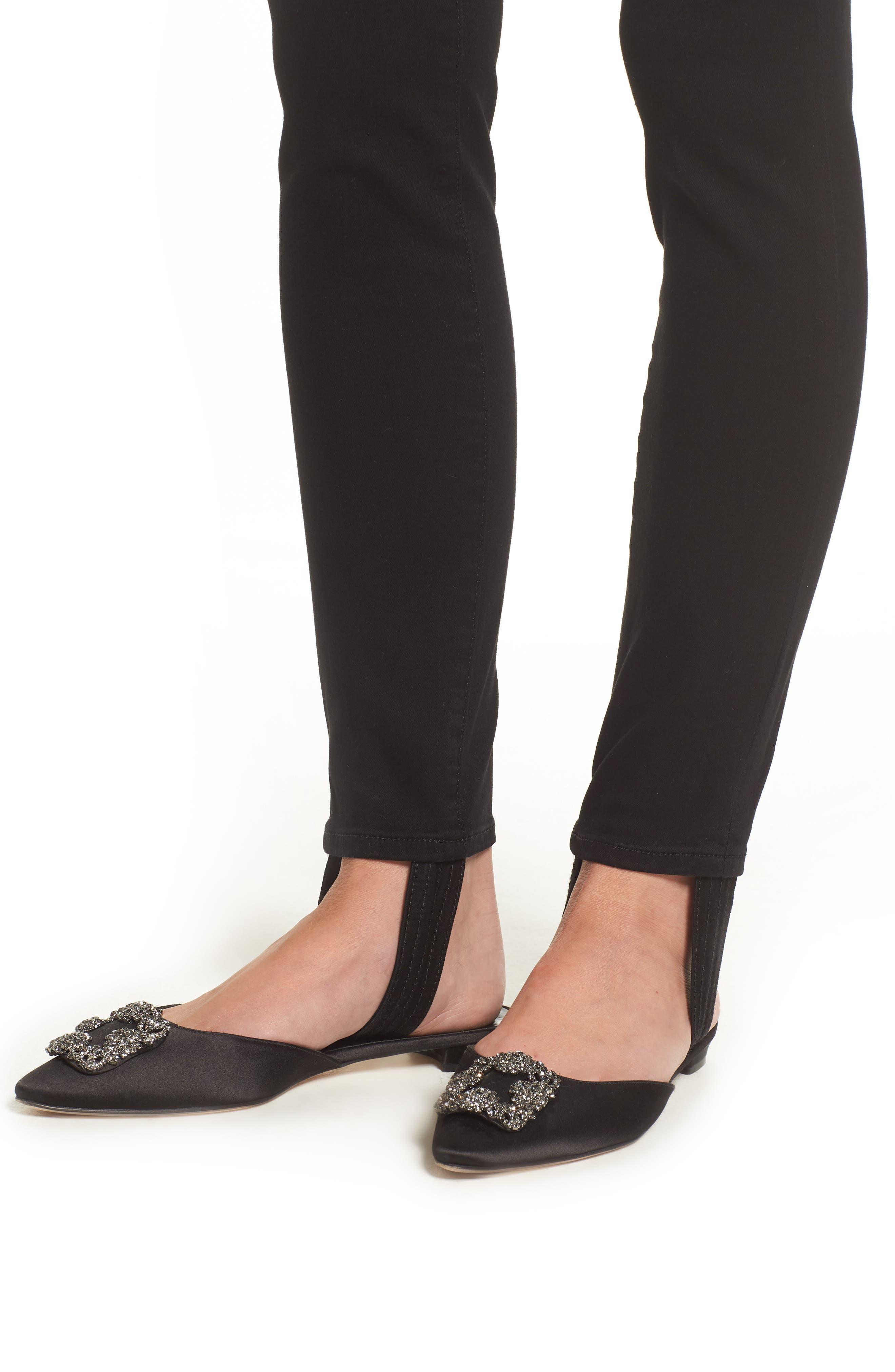 b(air) High Waist Ankle Skinny Stirrup Jeans,                             Alternate thumbnail 4, color,                             004