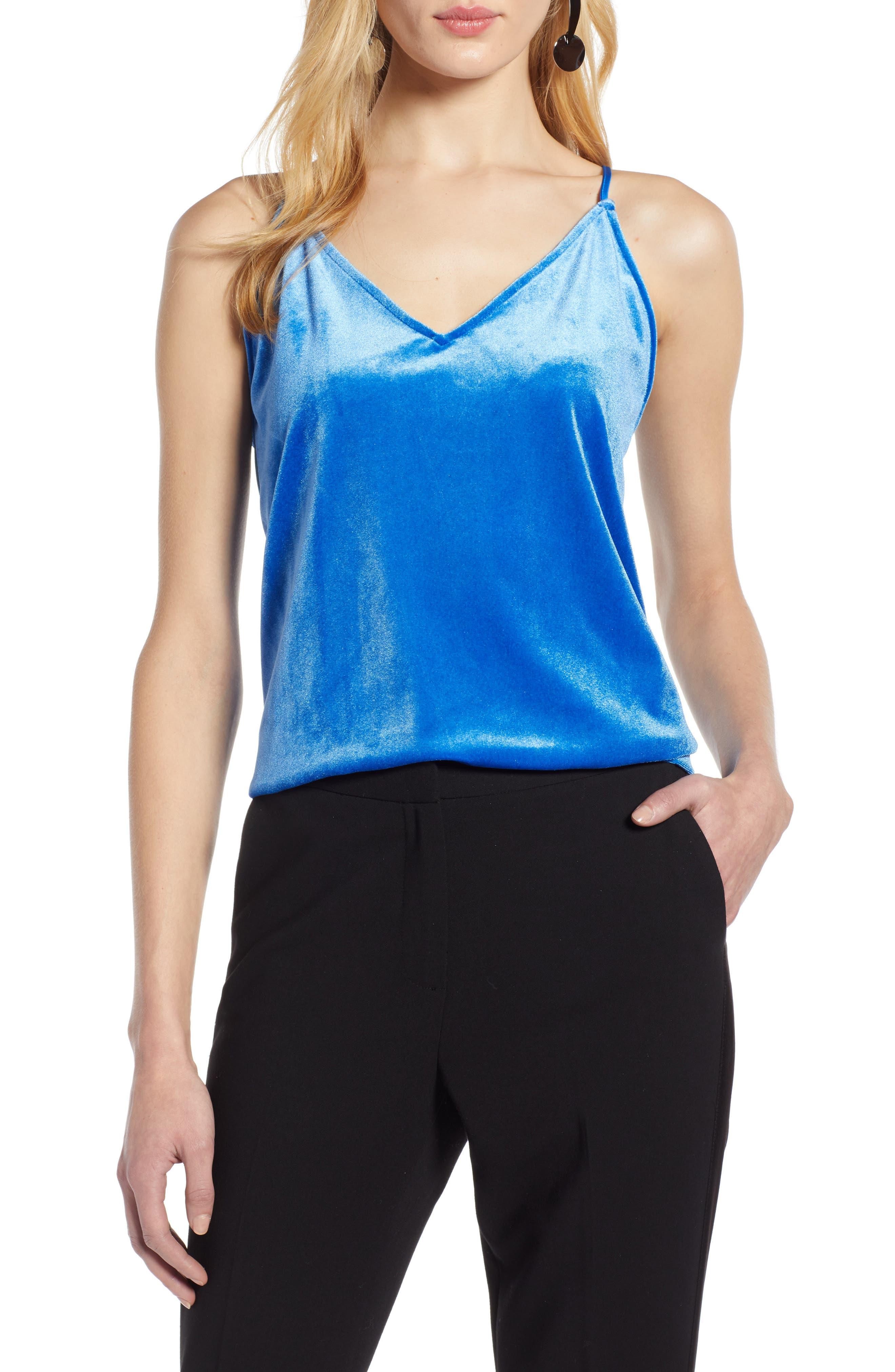 Halogen Velvet Camisole, Blue