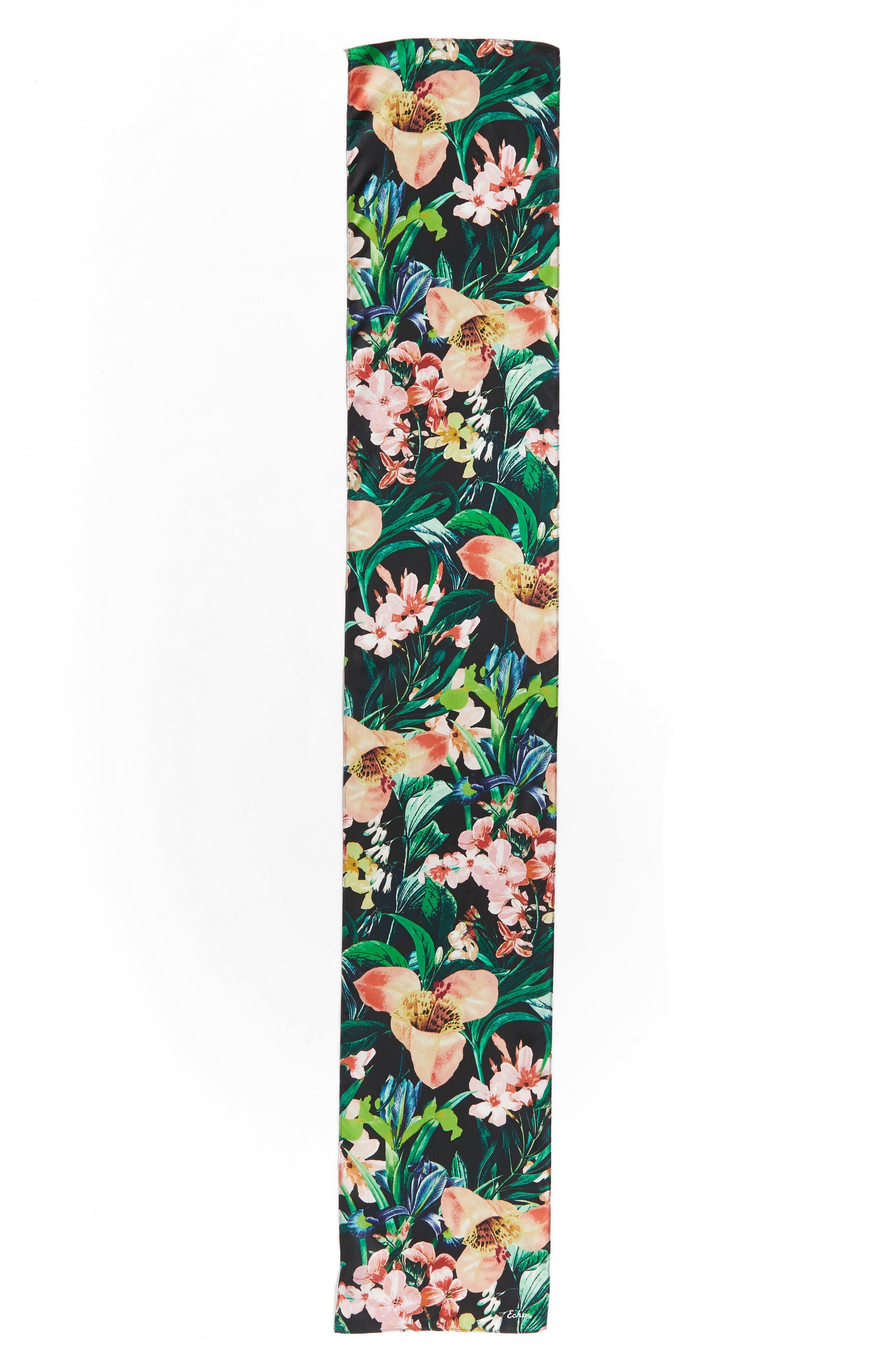 Tropic Floral Silk Scarf,                             Alternate thumbnail 3, color,                             001