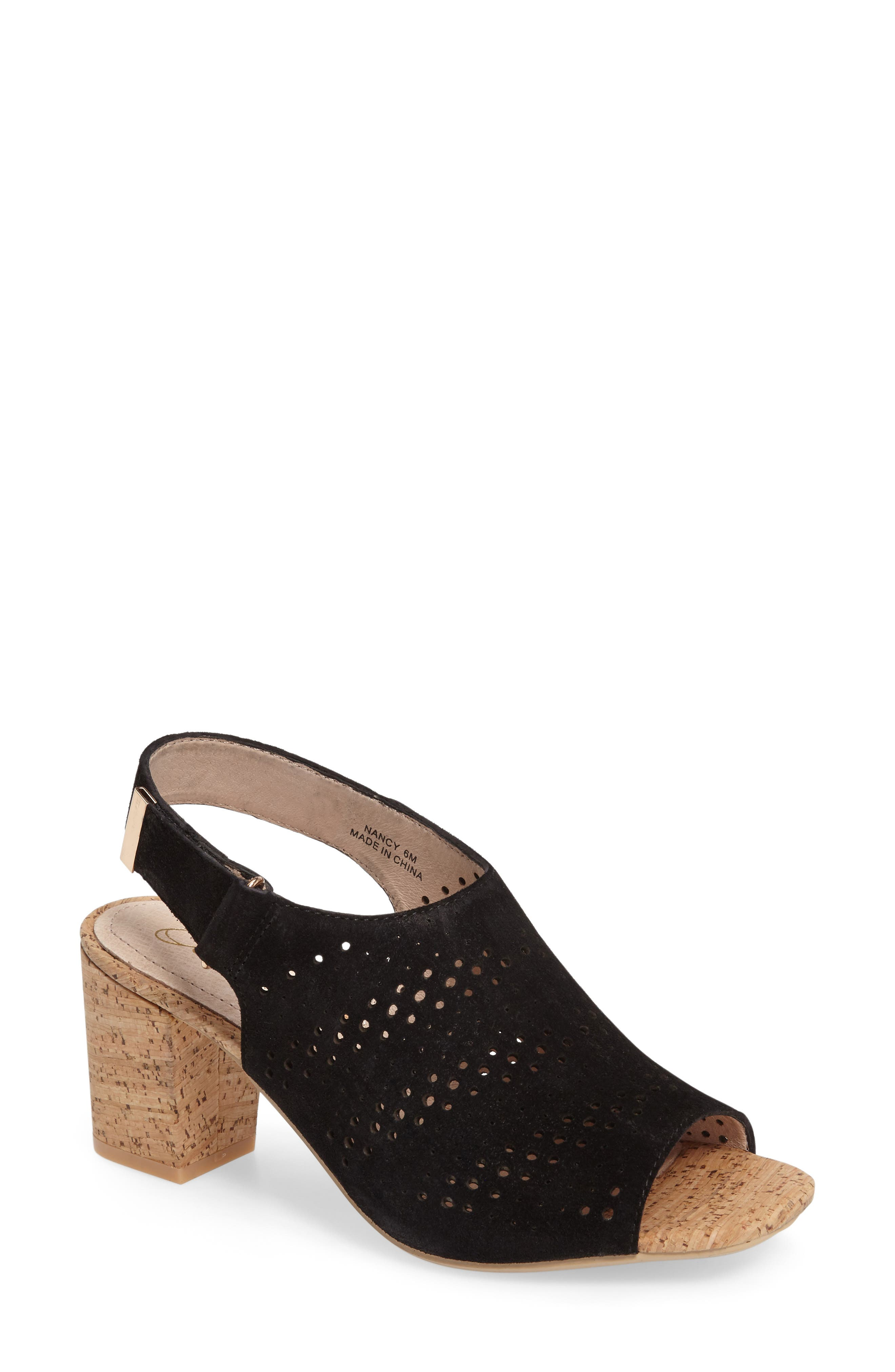 Nancy Perforated Sandal,                         Main,                         color, 001
