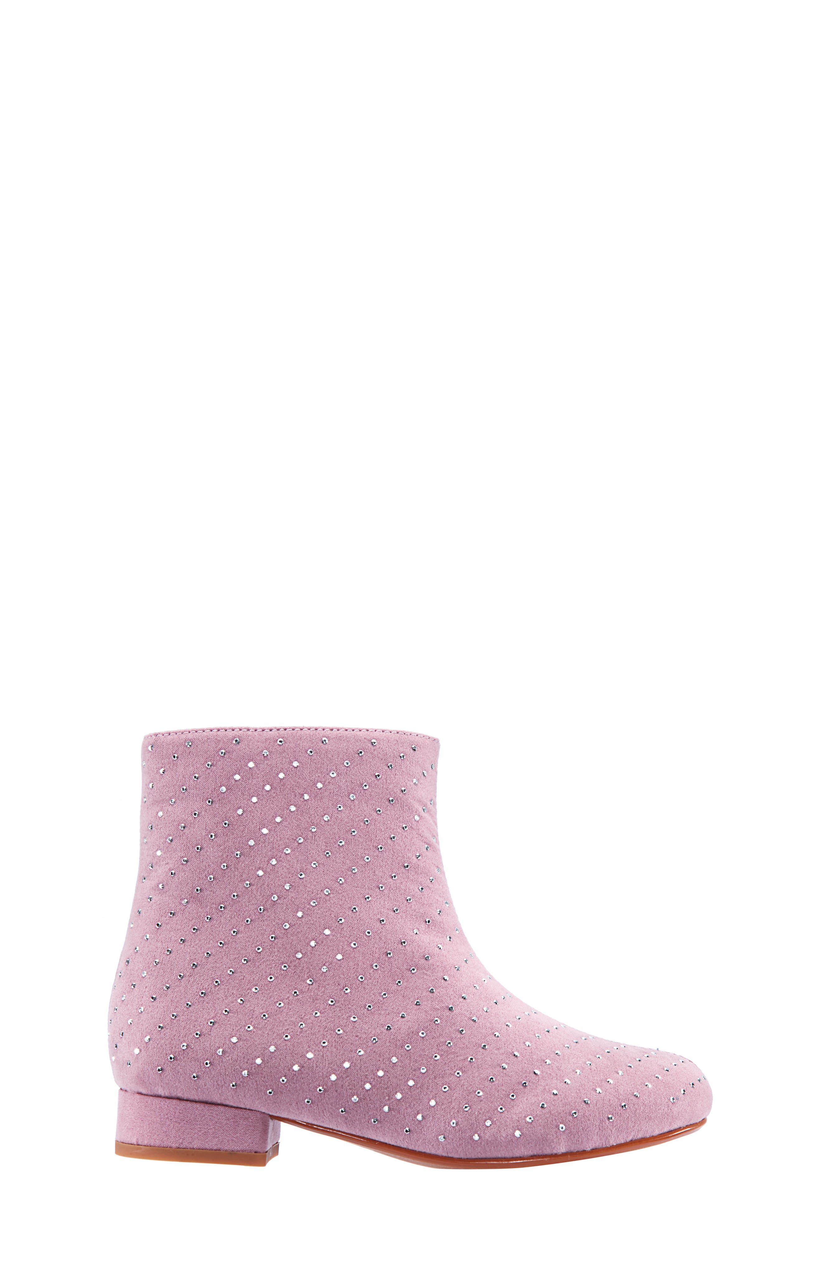 Peaches Studded Bootie,                             Alternate thumbnail 3, color,                             PINK MICRO SUEDE