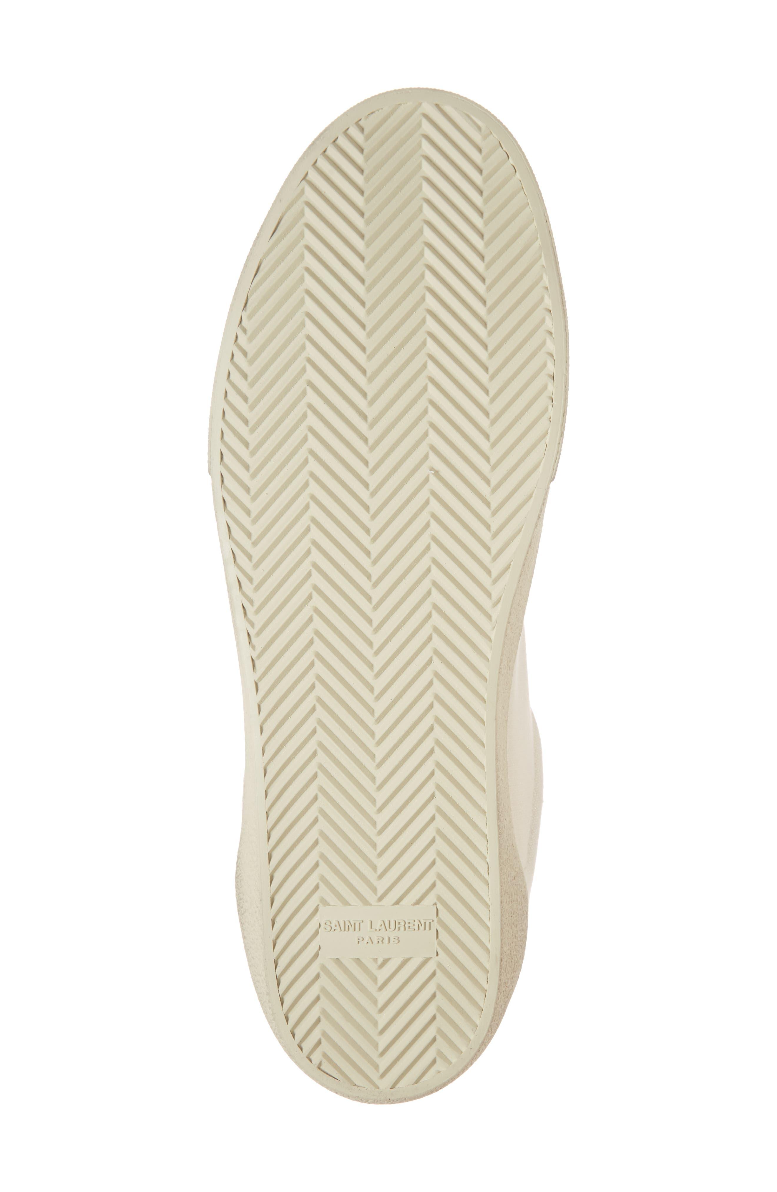SAINT LAURENT,                             Logo Embroidered Sneaker,                             Alternate thumbnail 6, color,                             9113 PANNA/PANNA