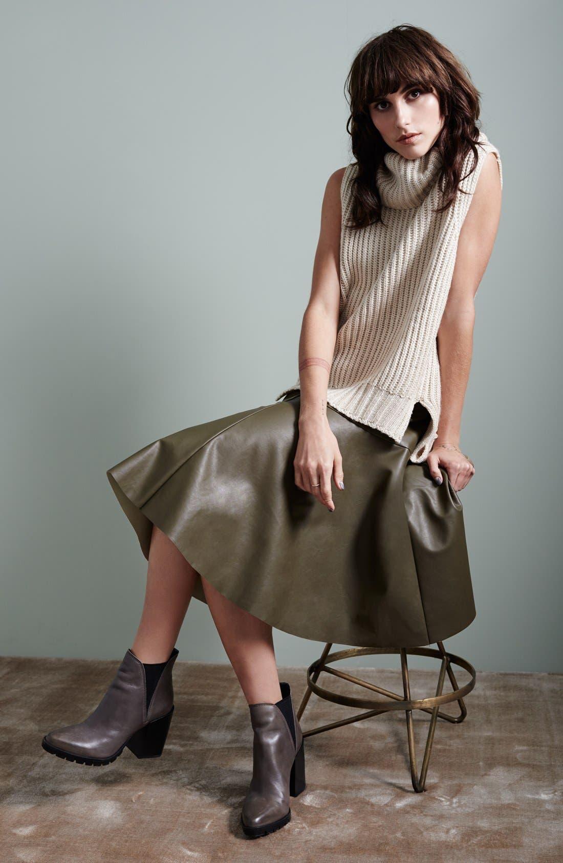 Faux Leather Midi Skirt,                             Alternate thumbnail 4, color,                             001