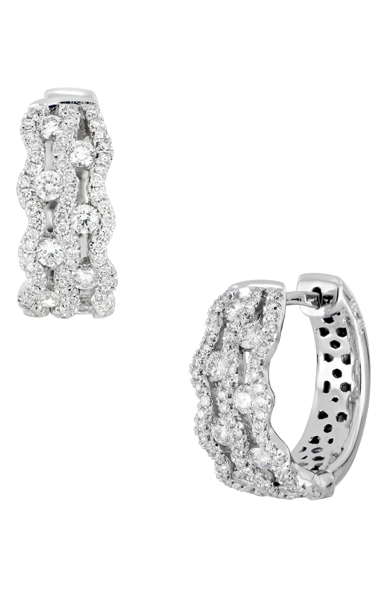 Diamond Hoop Earrings,                         Main,                         color, 101