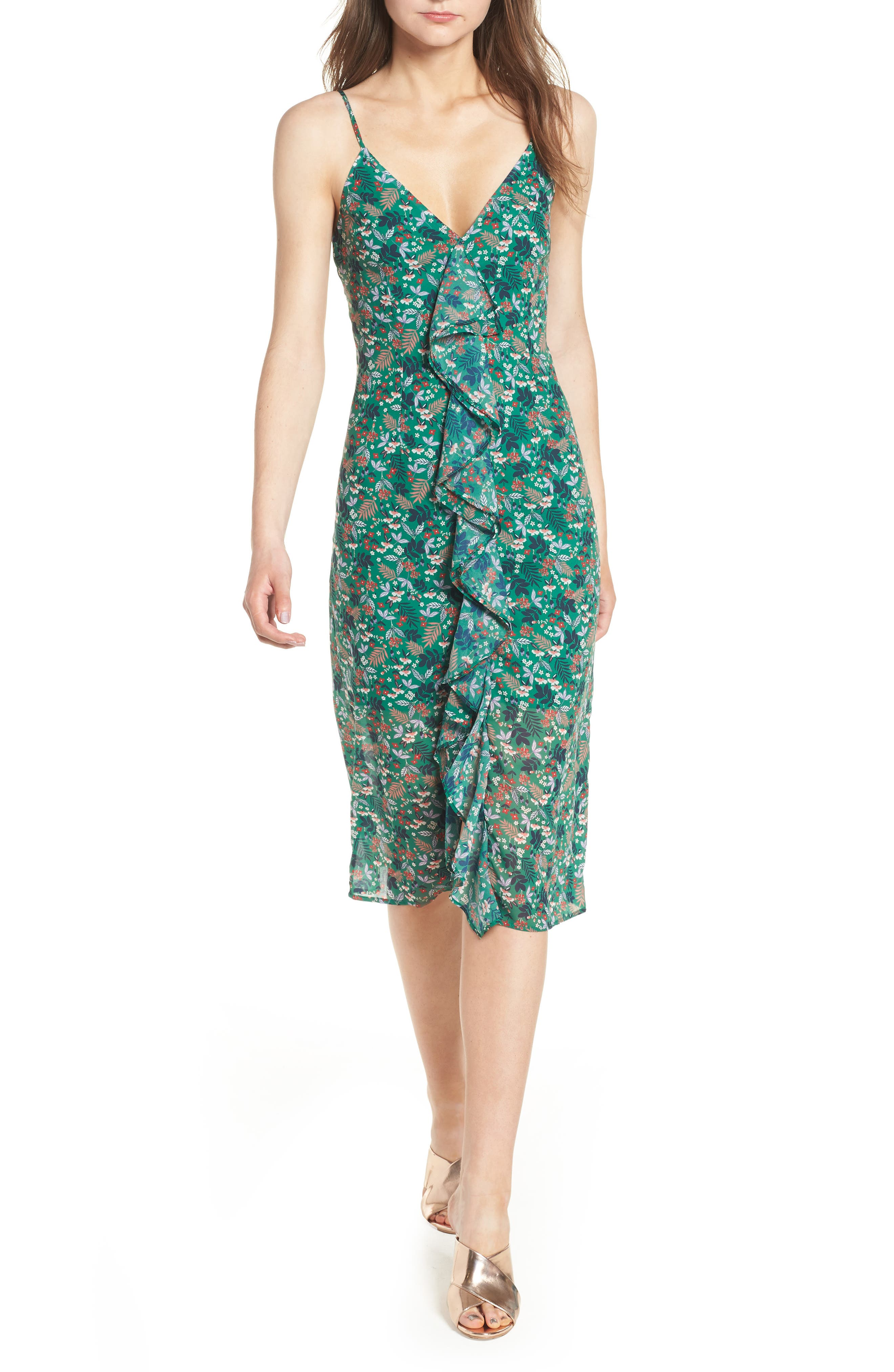 Viridian Ruffle Floral Print Dress,                         Main,                         color, 305