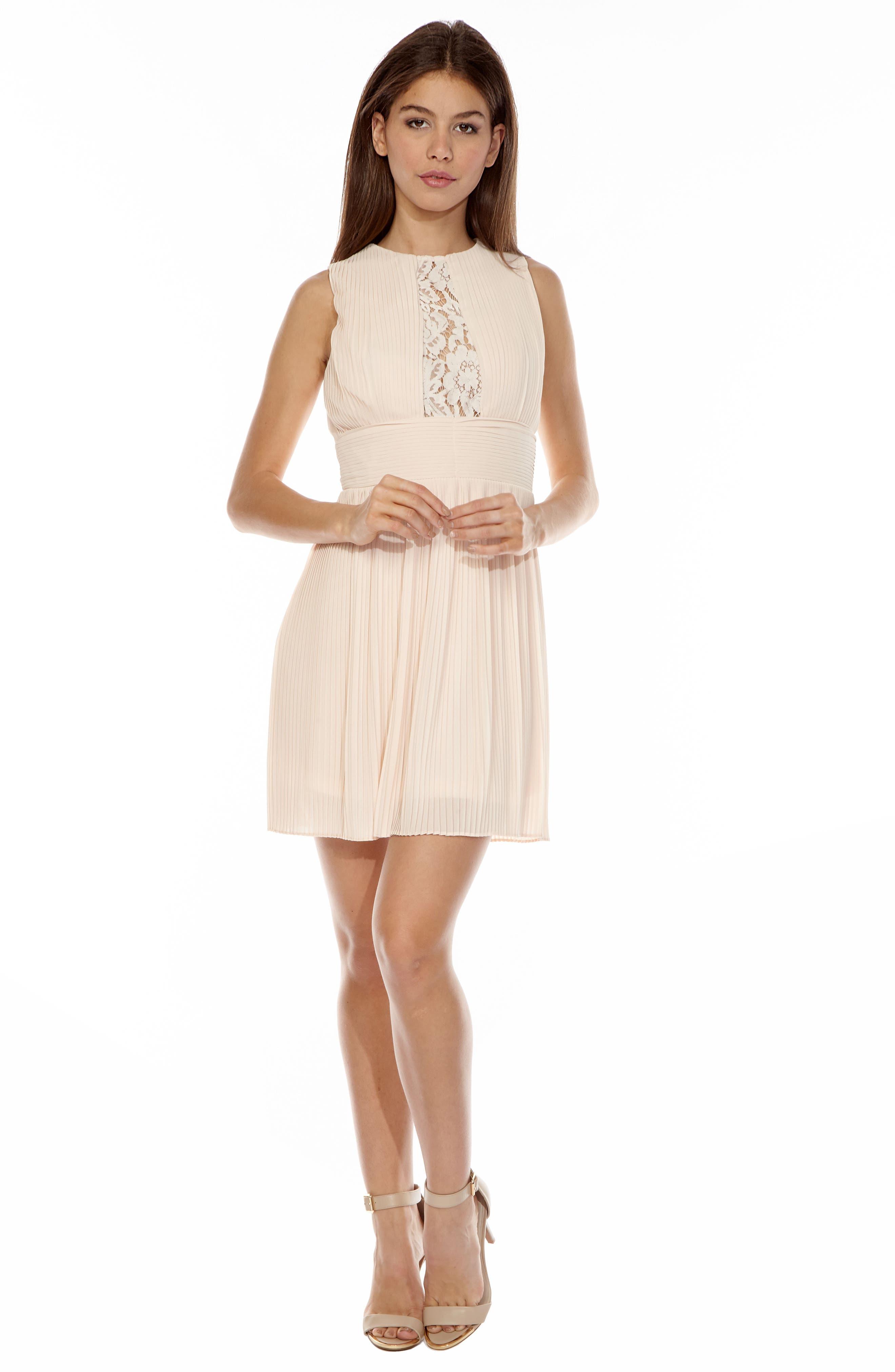 Dori Pleat Chiffon Fit & Flare Dress,                             Alternate thumbnail 5, color,                             680