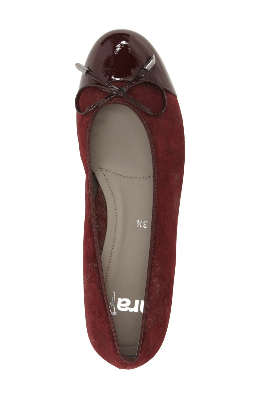 'Betty' Cap Toe Flat,                             Alternate thumbnail 3, color,                             BURGUNDY PATENT LEATHER